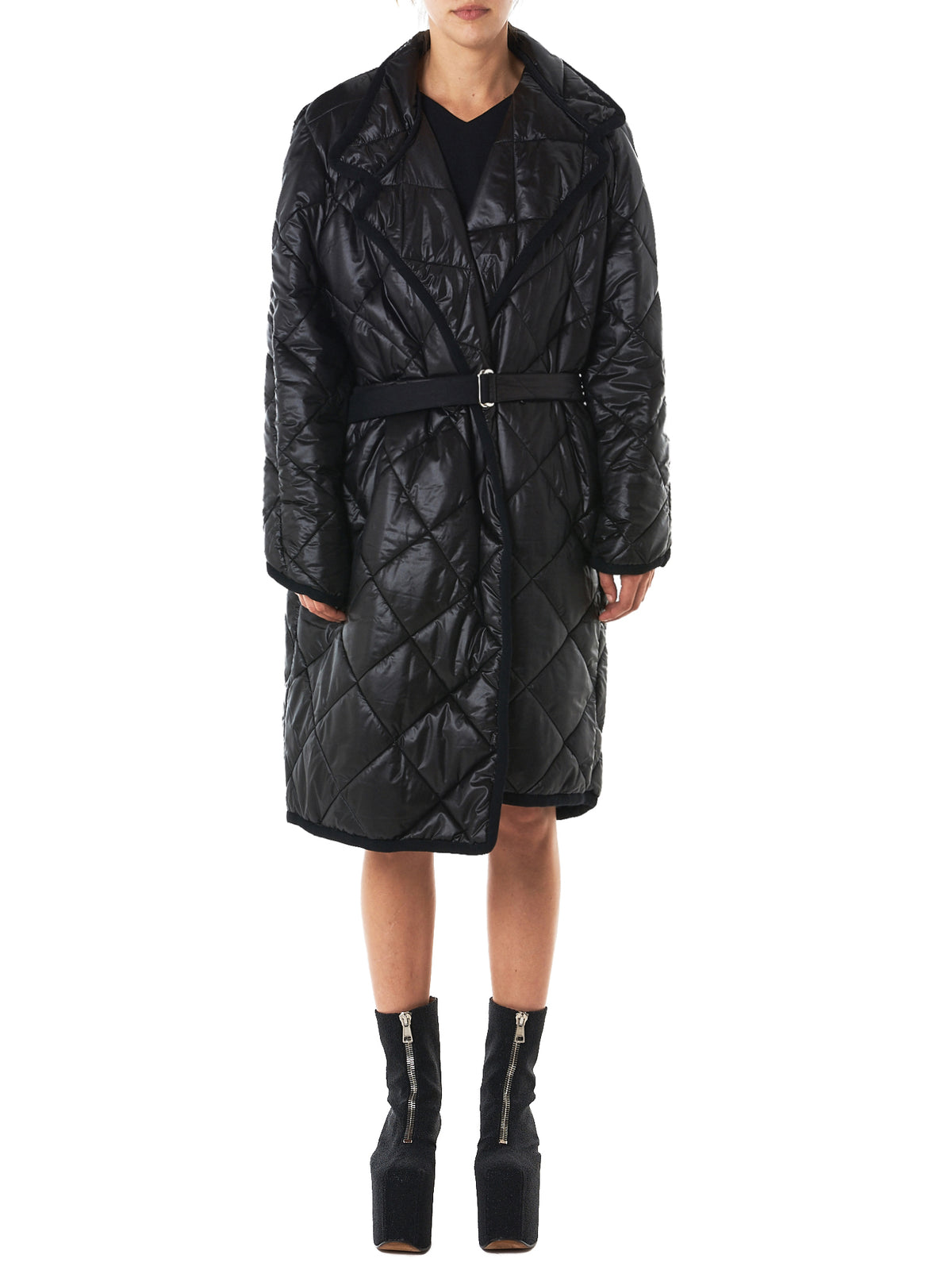 Quilted Long Coat (LU9020-MATEX-BLACK)