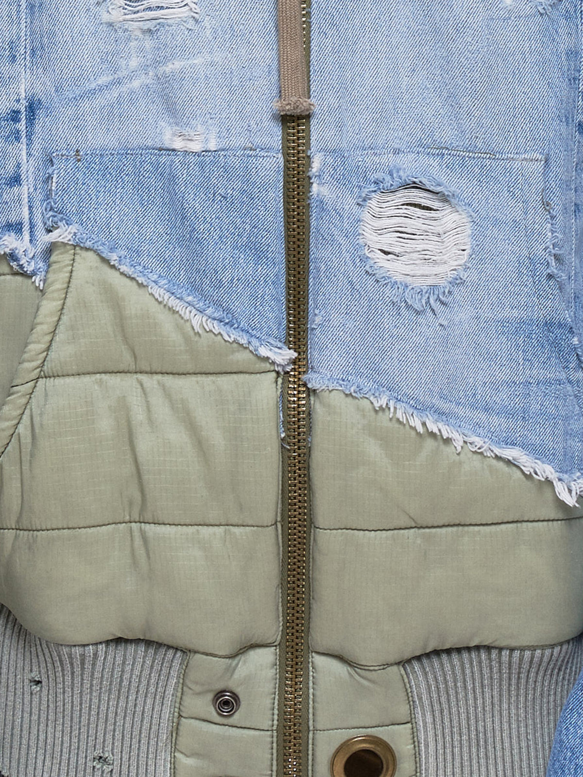 '50/50 Denim Army Puffy Zip Studio' (M005-W-ARMY-DENIM-BLUE)