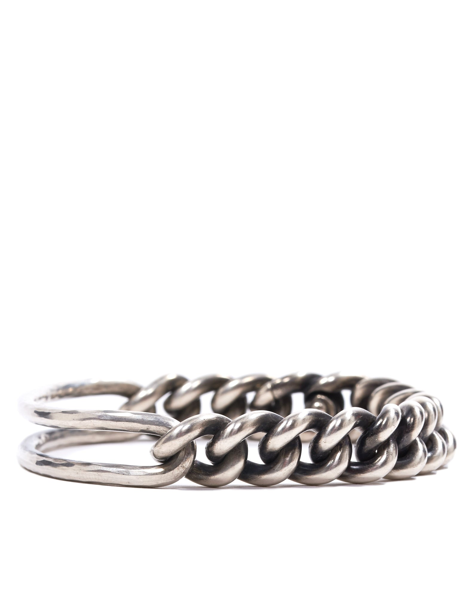 Curb Chain Hammered Bracelet (M2307-CURB-CHAIN-HAMMERED-SIL)