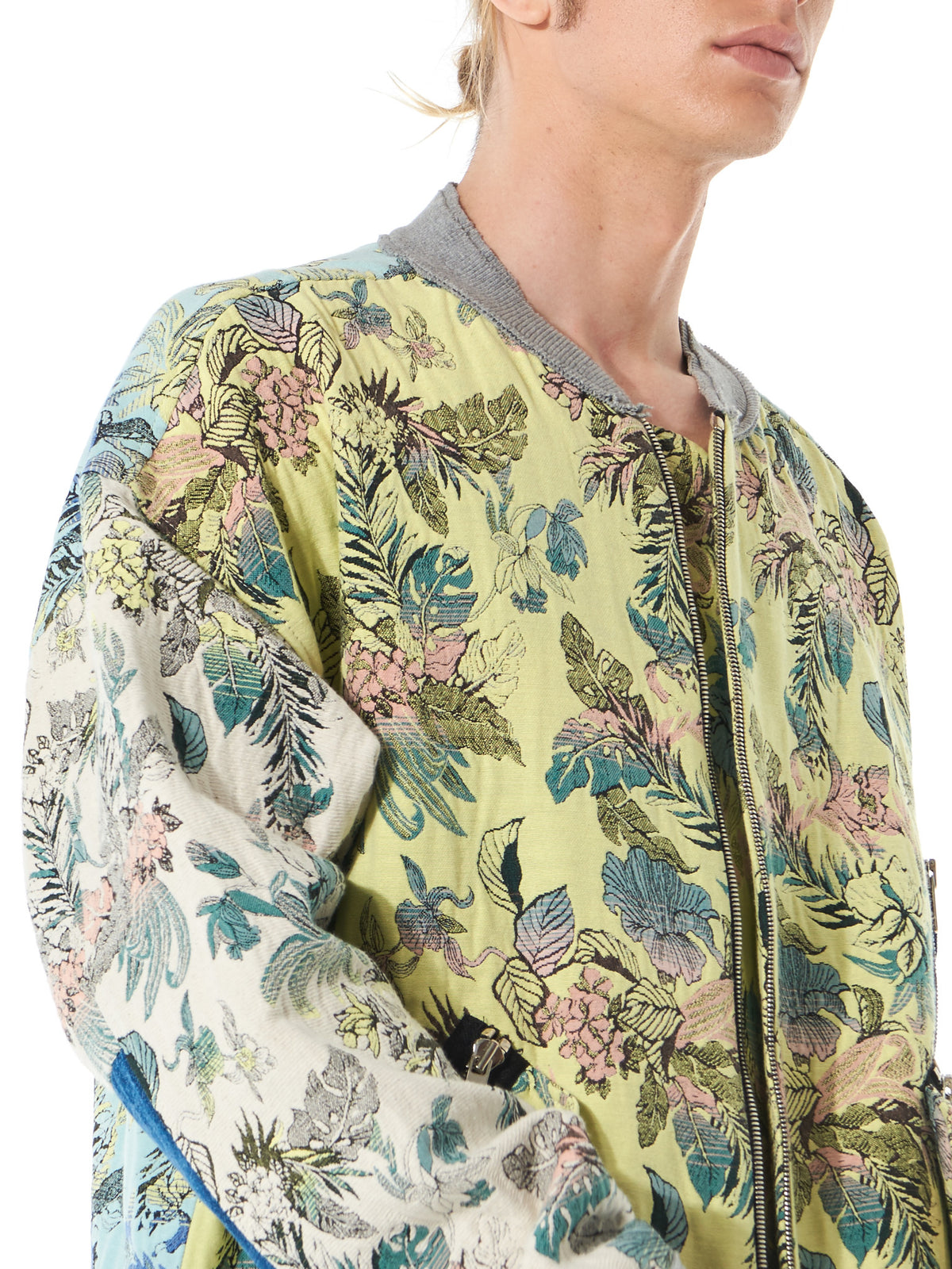 Floral-Knit Patched Bomber (MA172056 COTTON BROCADE) - H. Lorenzo