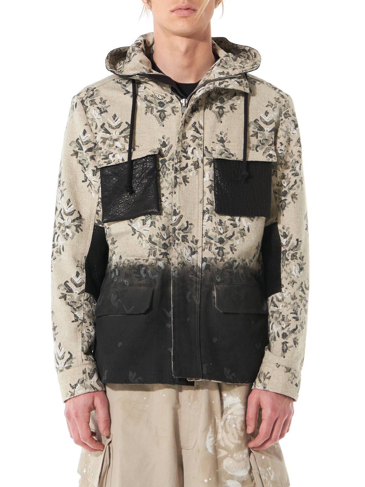 Floral-Print Hooded Jacket (MA172066 NATURAL) - H. Lorenzo