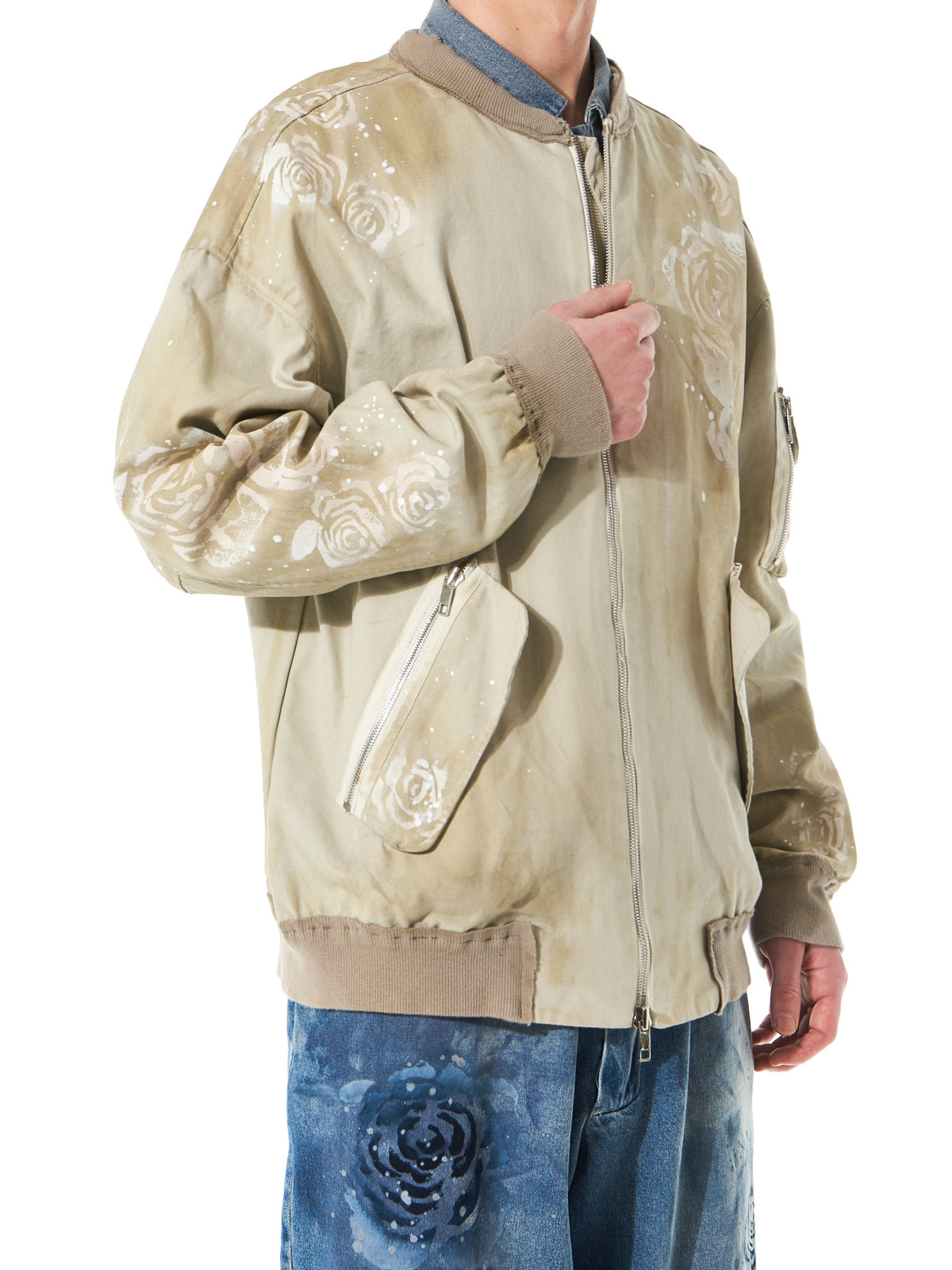 Stenciled Floral Bomber (MA172079 BEIGE) - H. Lorenzo