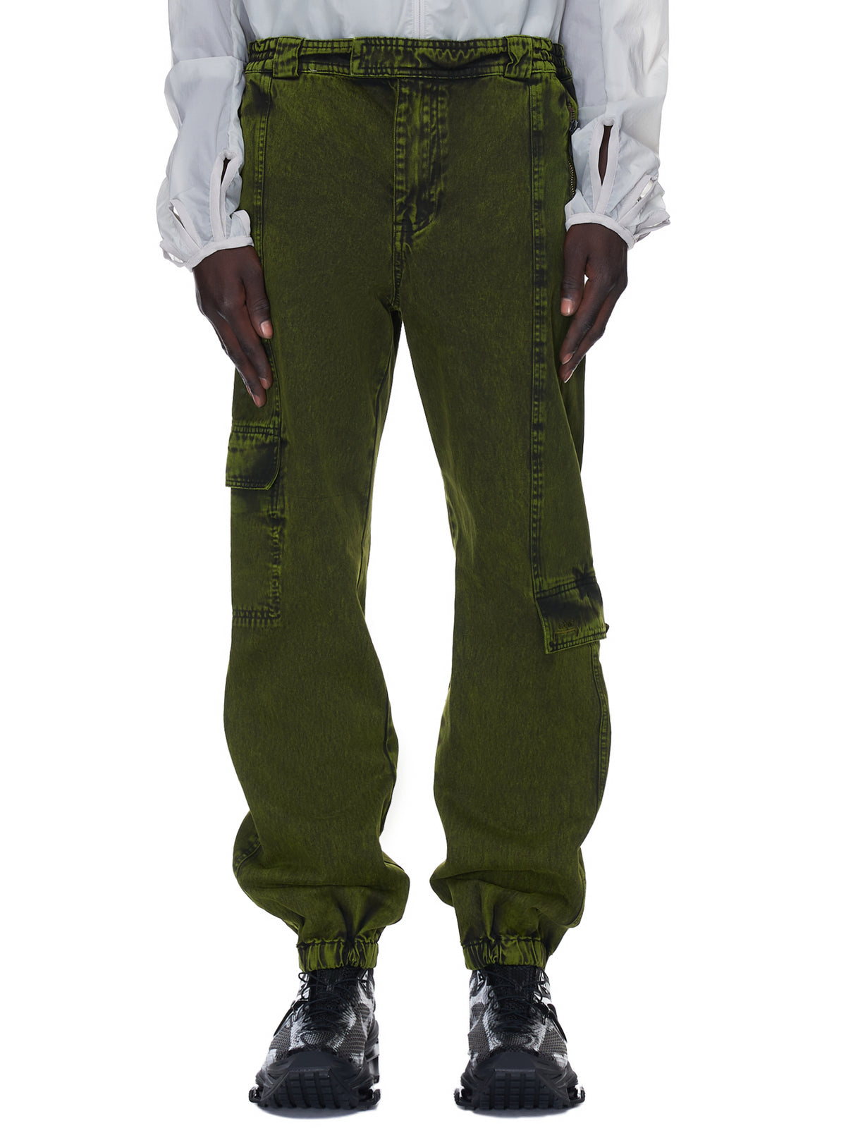 Tapered Denim Cargo Trousers (MB052-MILITARY-GREEN)