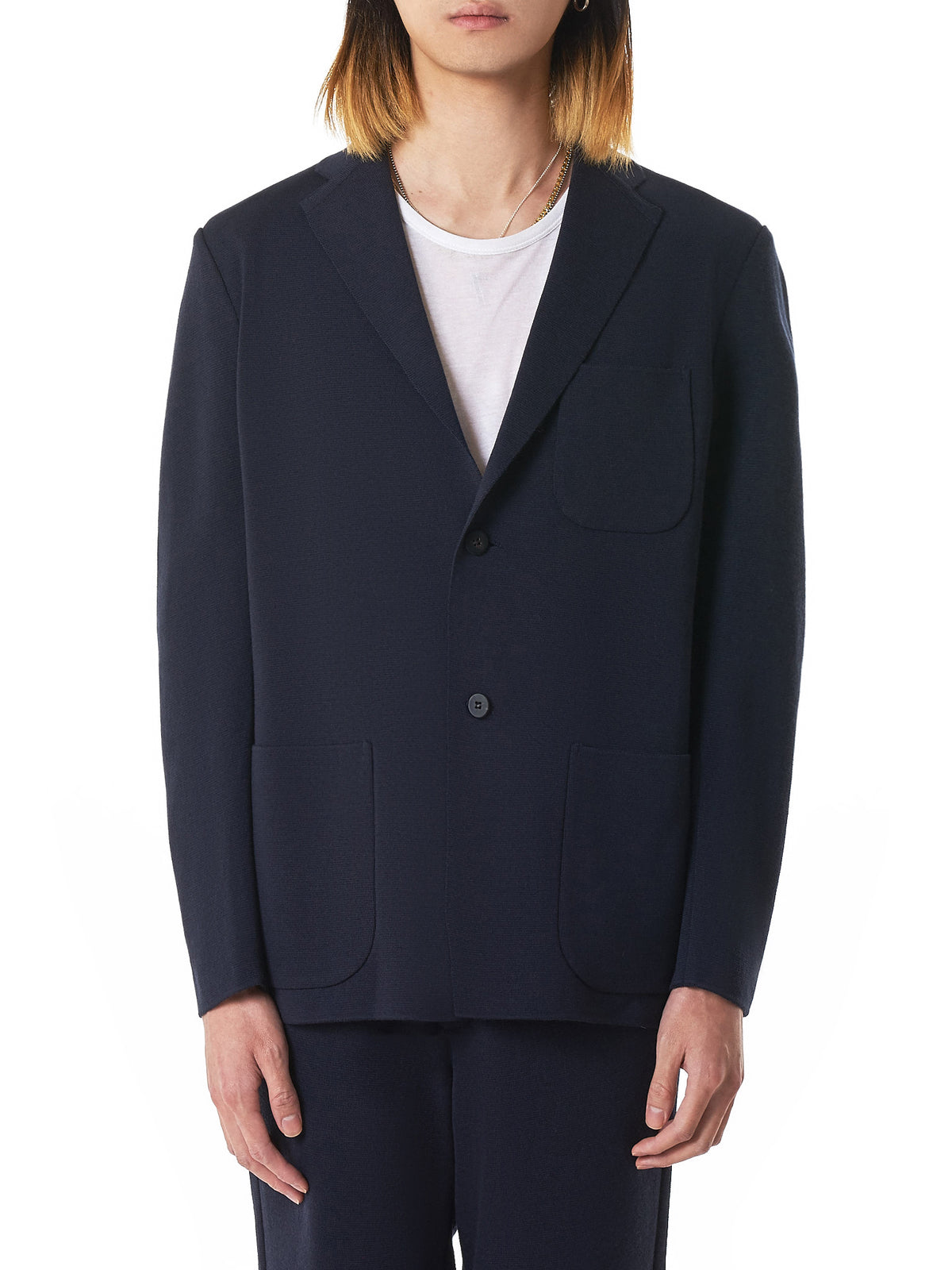 Knit Tailored Jacket (ME96KD005-75-NAVY)