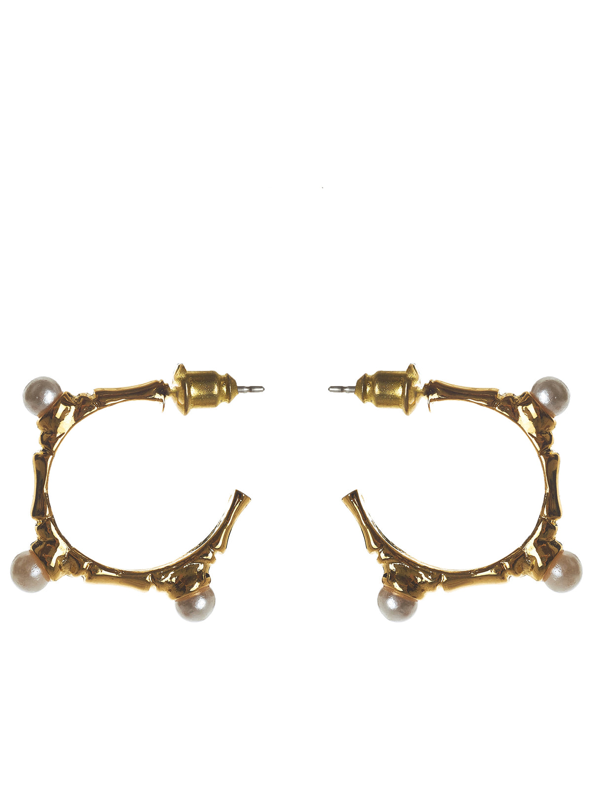 Bamboo x Pearl Hoop Earrings (MEAW1512-GOLD-PLATING)