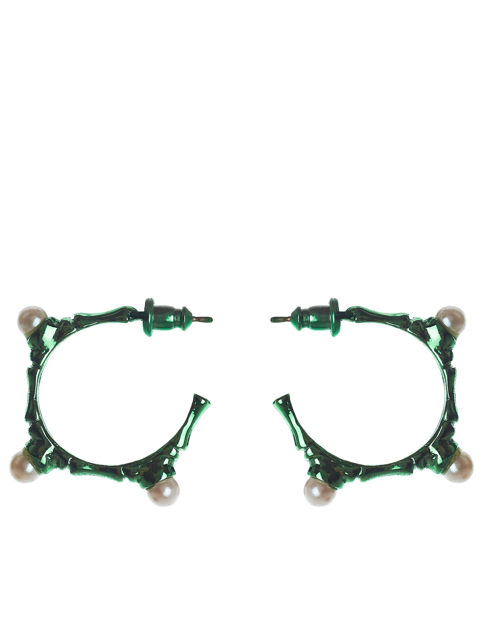 Bamboo x Pearl Hoop Earrings (MEAW1512-GREEN)