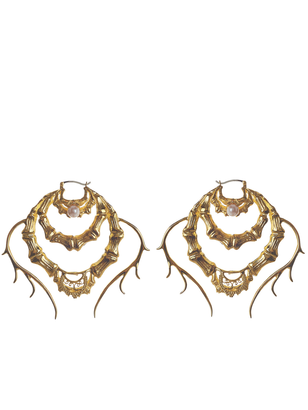 'The Savage Statement' Bamboo Earrings (MESSAW1701-GOLD-PLATING)