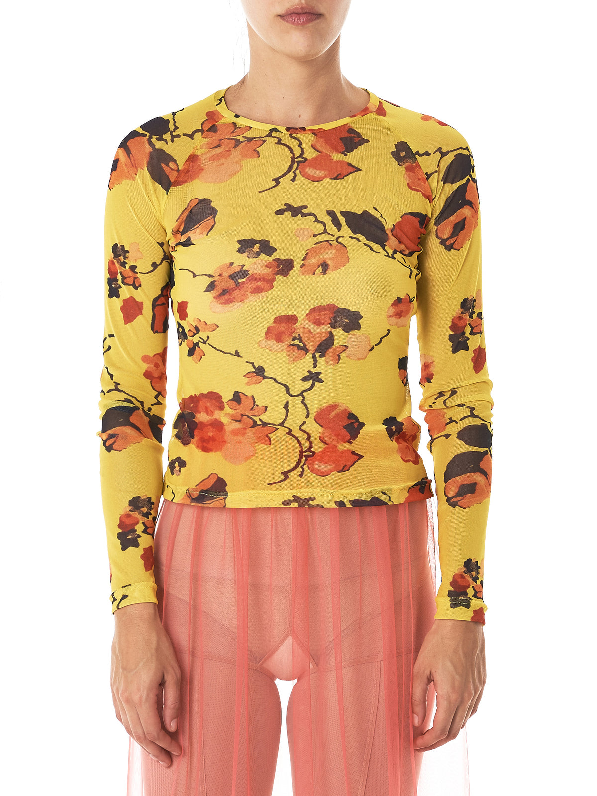 Stretch Floral Tulle Shirt (MGAW17-50-SPIKE-YELLOW)