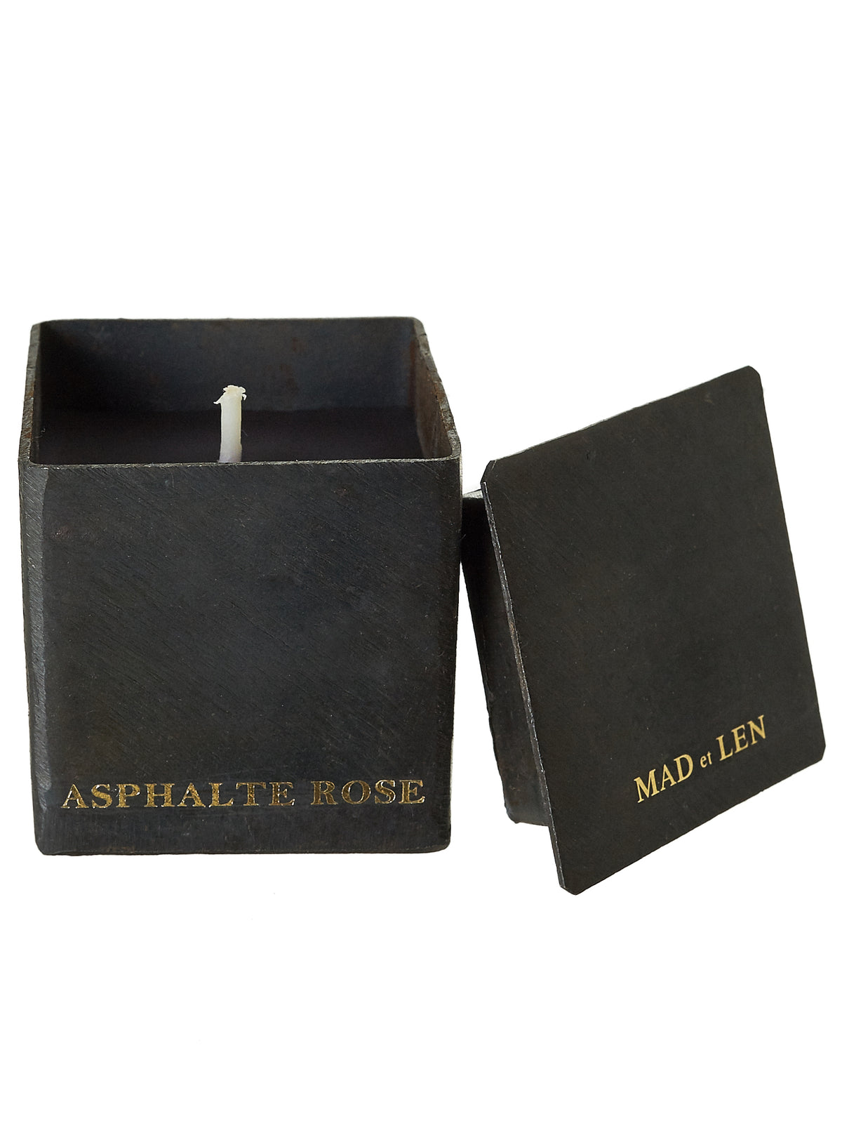 'Asphalte Rose' Short Block Candle (ML-BCMN-AS-ASPHALTE-ROSE-5X5)