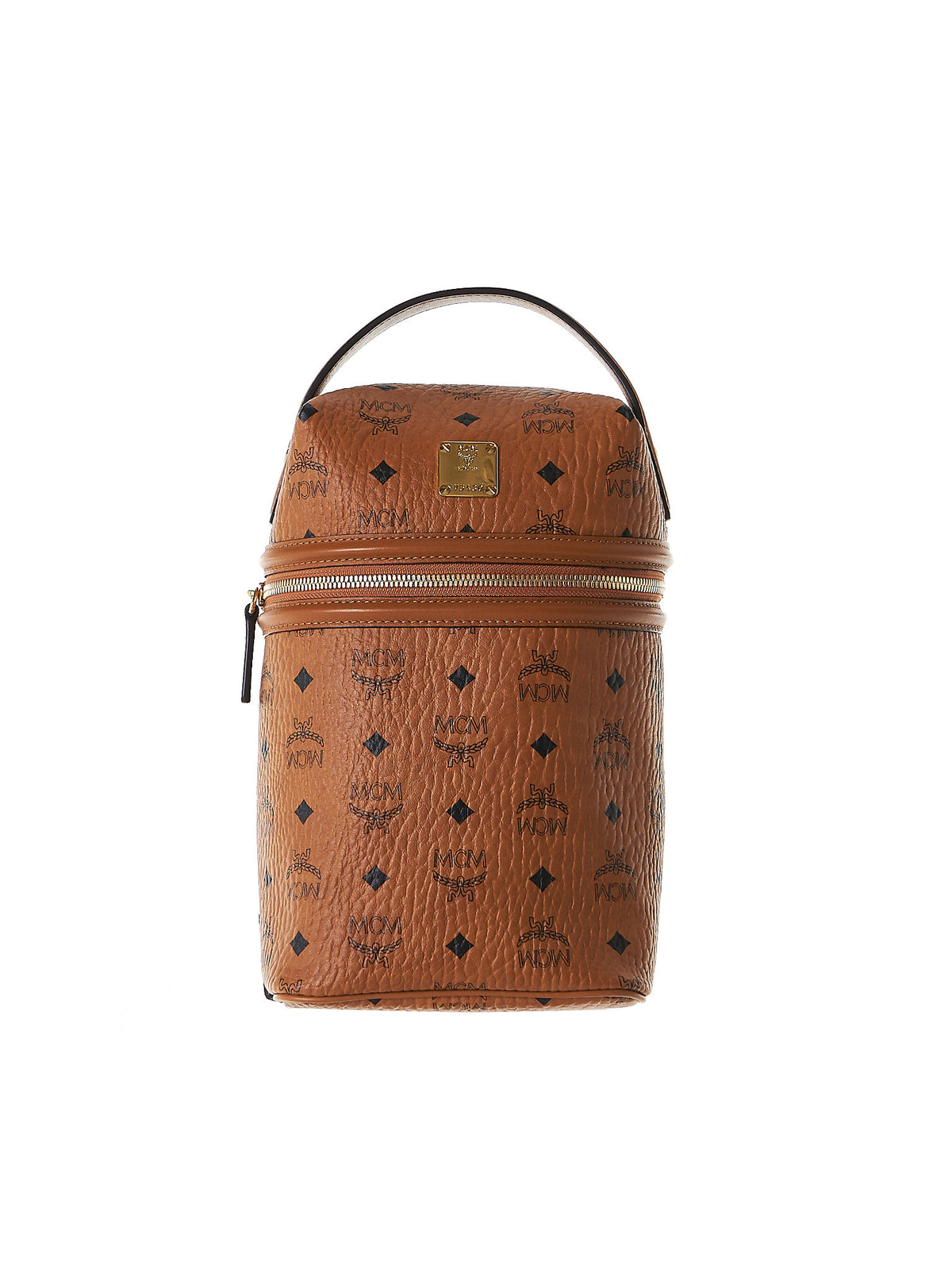 Zipped Leather Bucket Bag (MMZ7SOC10-COGNAC) - H. Lorenzo