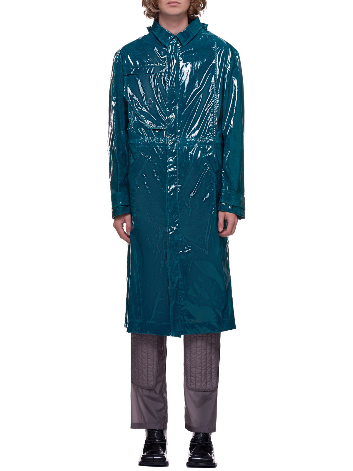 Patent Trench Coat (MO011WHLDT-DEEP-TEAL)