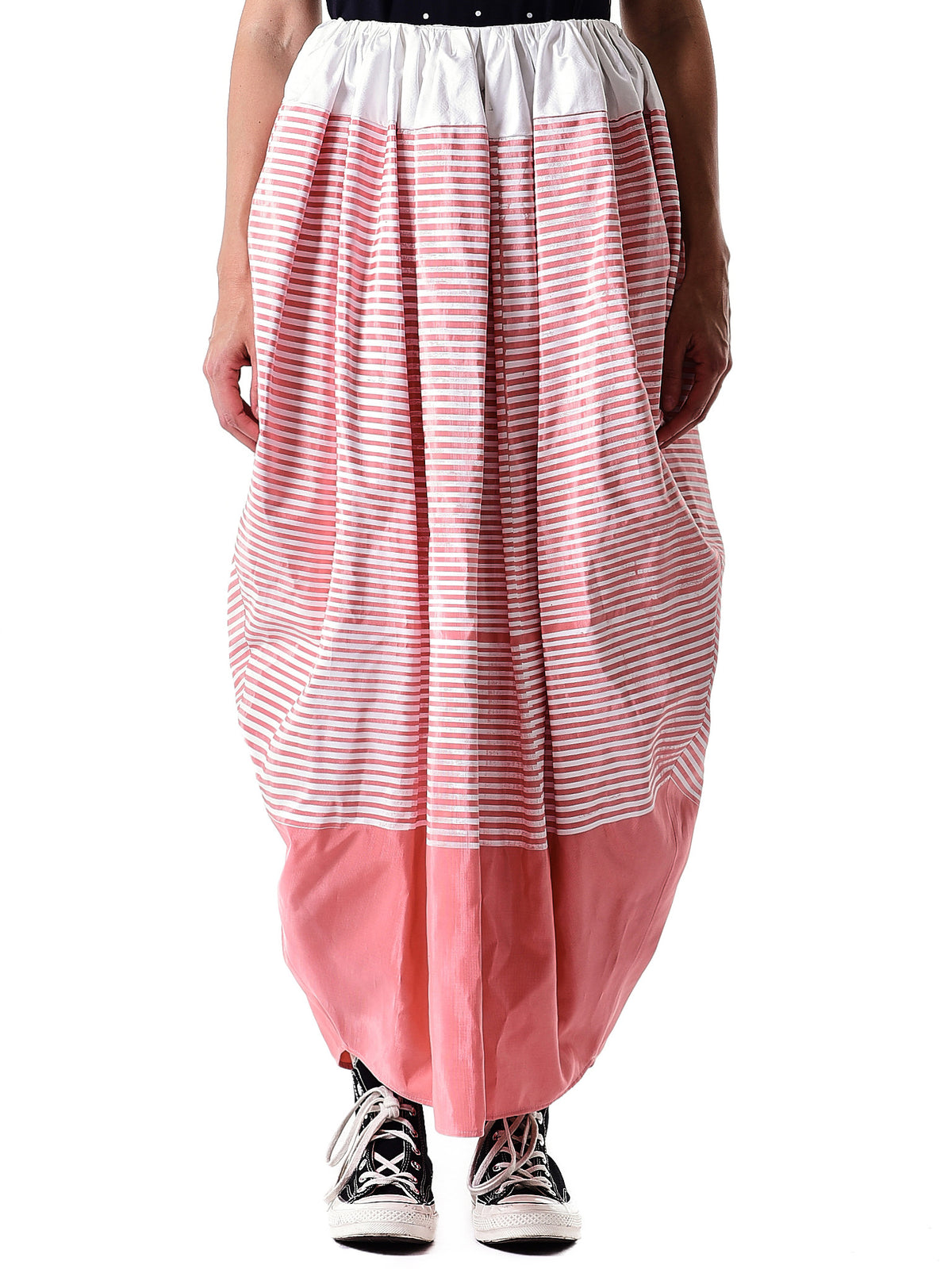 Striped Structured Skirt (MOIRE-DRESS-PINK-STRIPED)