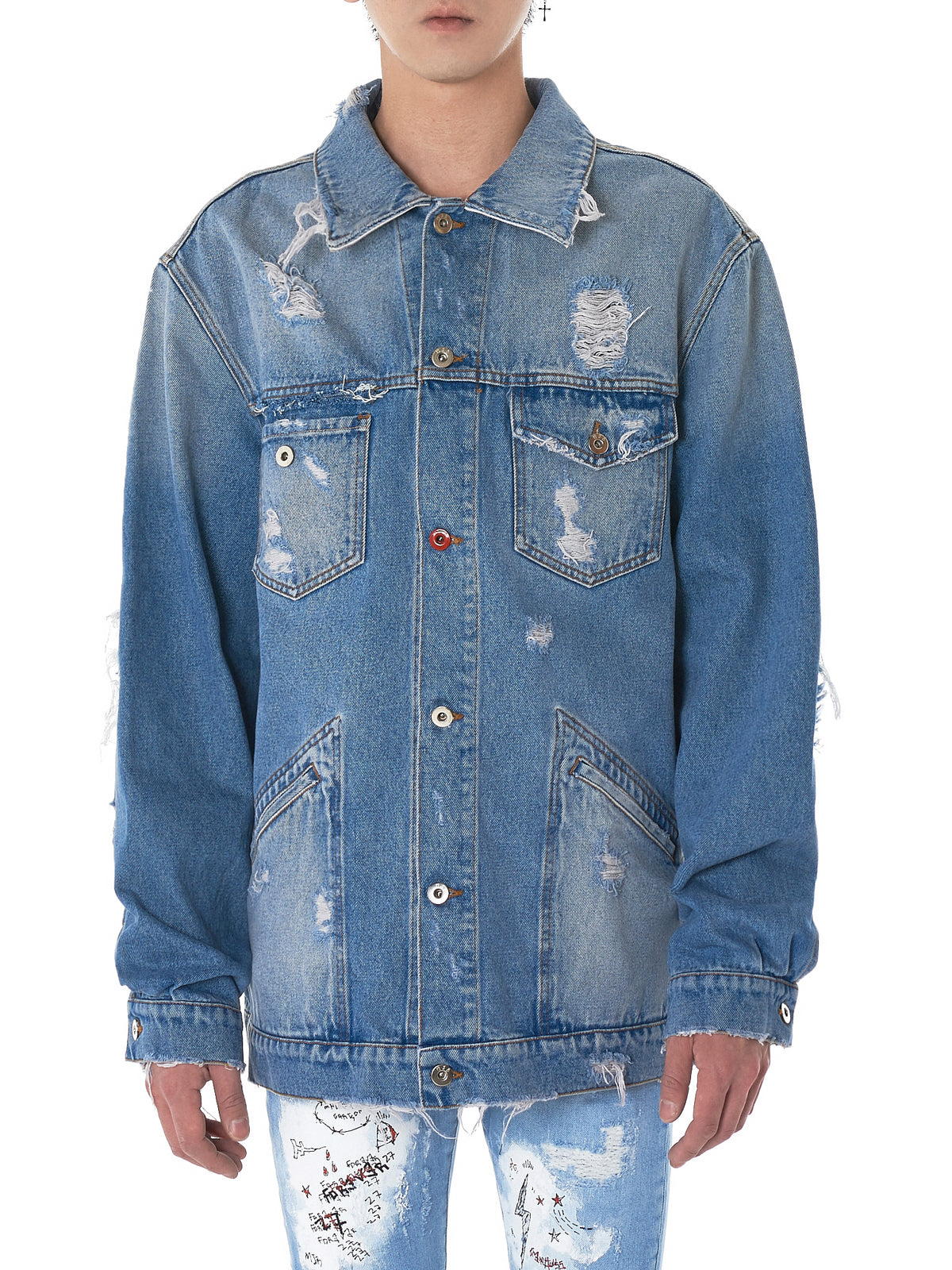 Distressed Denim Jacket (MPAX-LIGHT-BLUE)