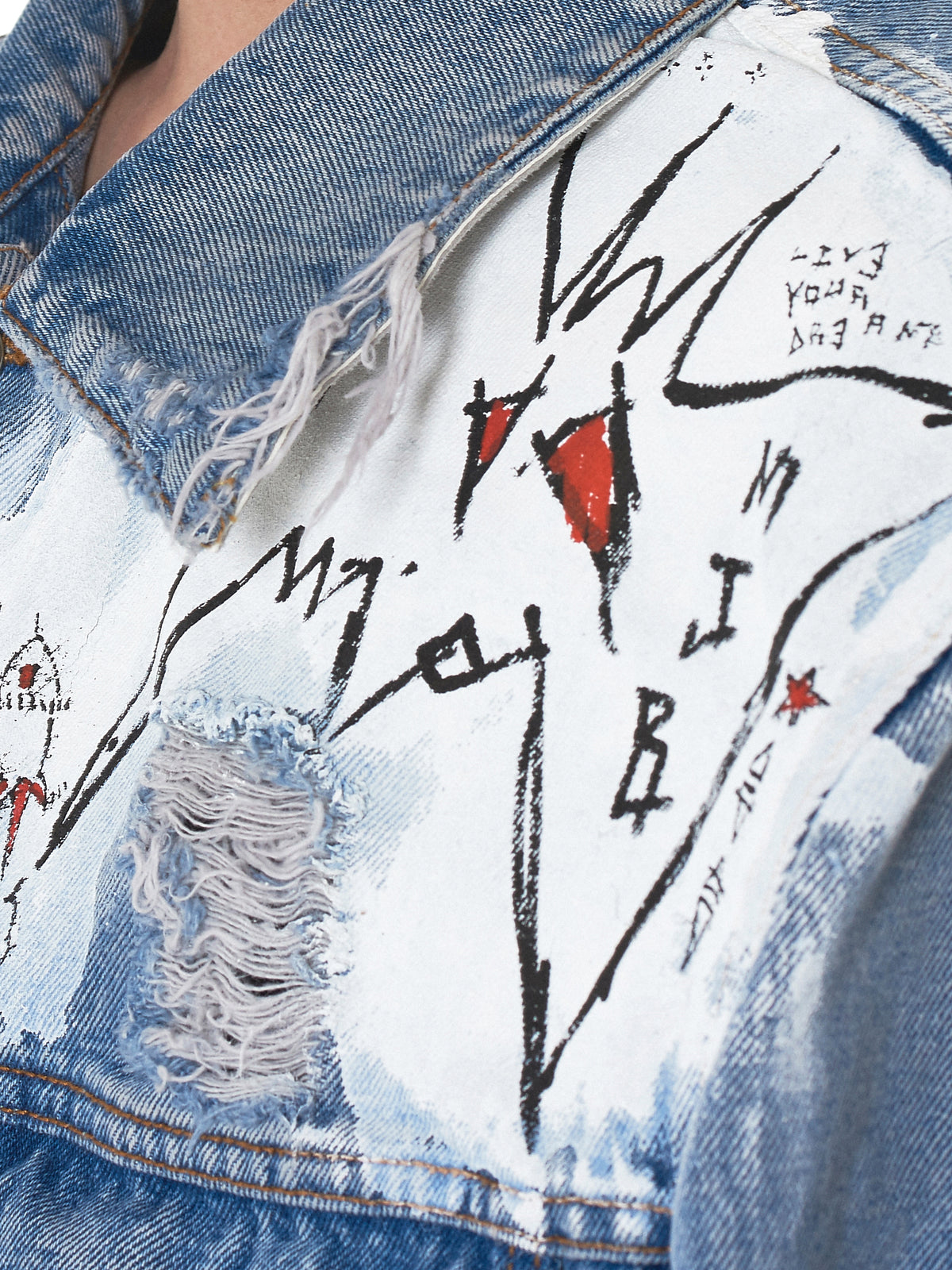 Hand-Painted Distressed Denim Jacket (MPAX27-LIGHT-BLUE)