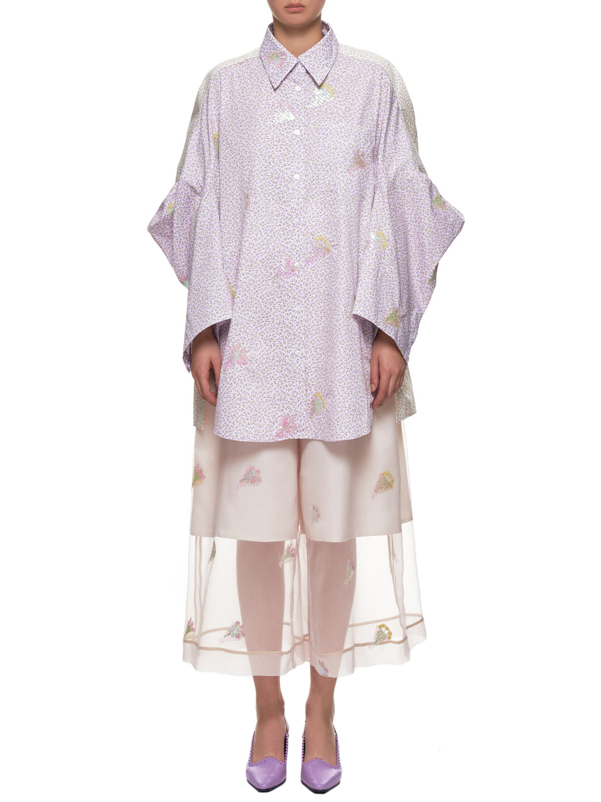 Oversized Floral Shirt (MSS19B03-PURPLE-IVORY)