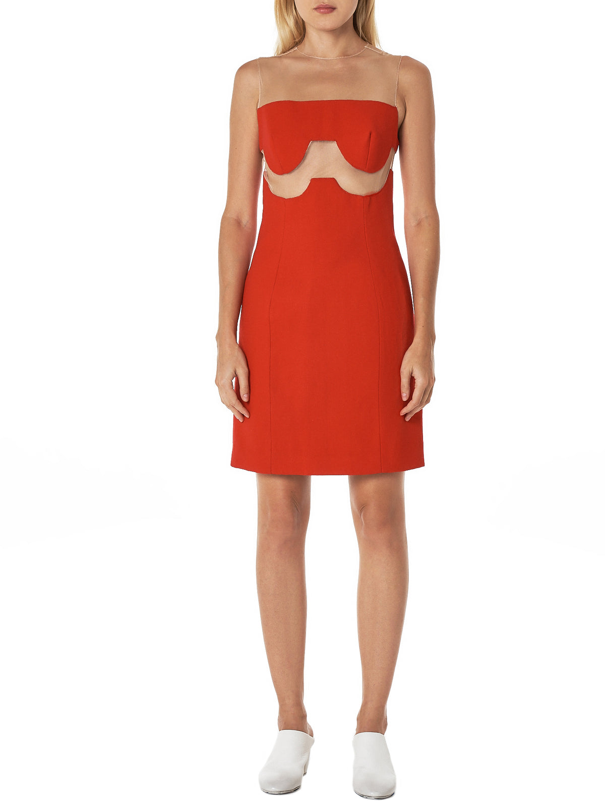'Muchu' Tulle Strap Dress (MUCHU-NUDE-RED)