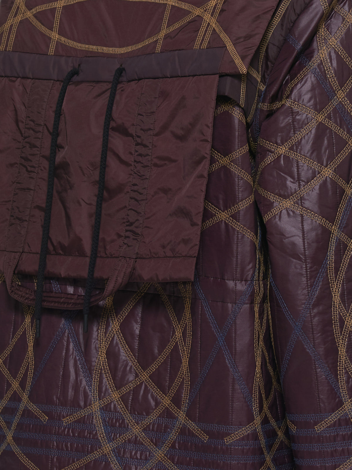 Quilted Embroidery Swirl Jacket (MWOJKT13-BURGUNDY)