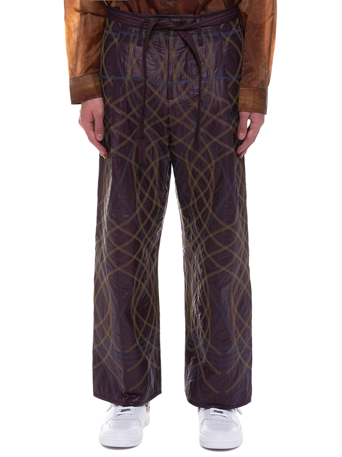 Embroidery Swirl Trousers (MWOTRS07-BURGUNDY)