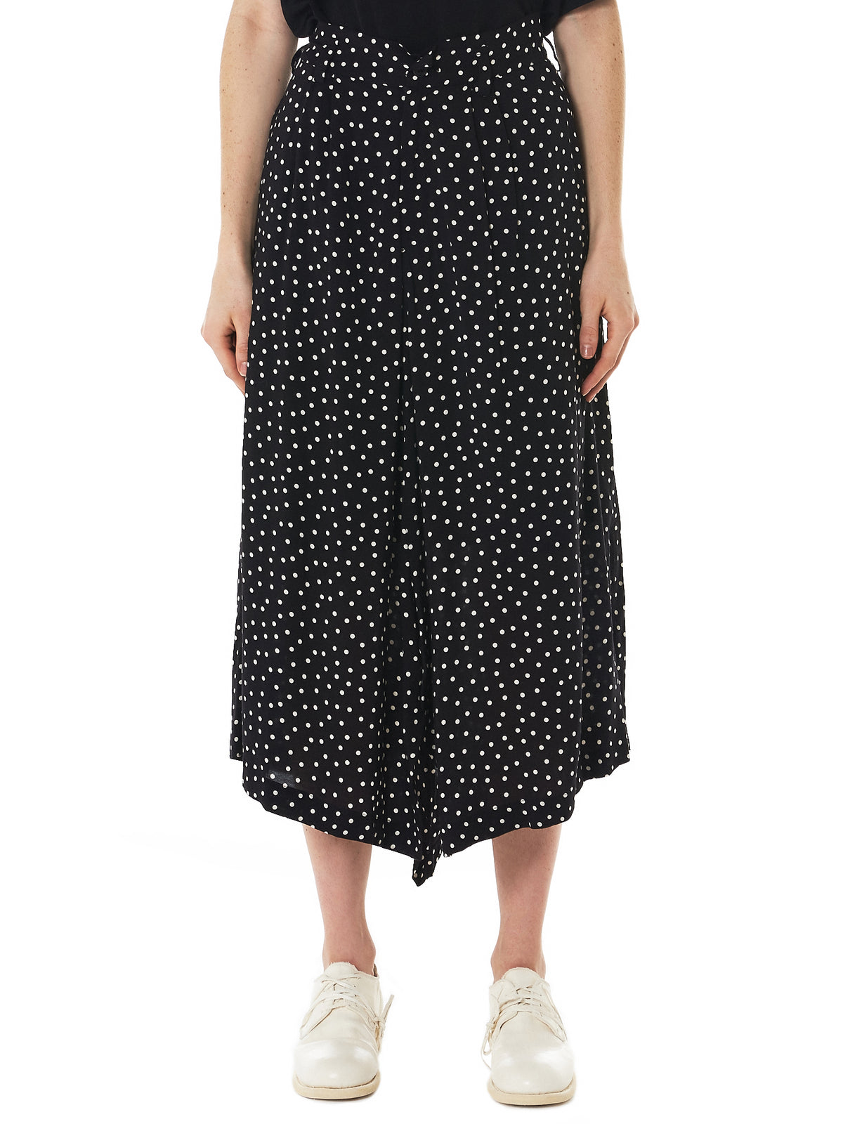 Polkadot Pleated Skirt (N2181-S01-201-2-BLACK-WHITE)