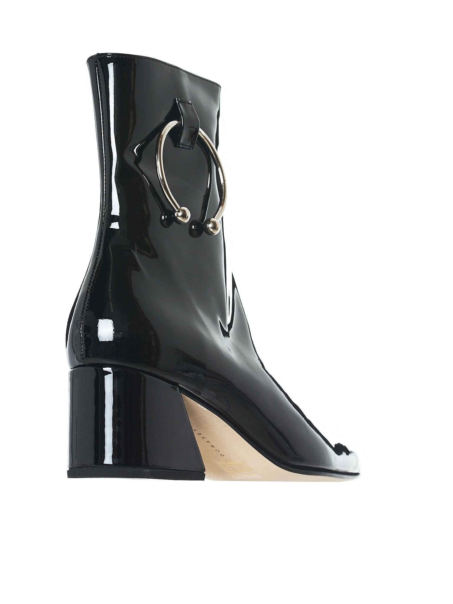 Patent Pierced Boots (NIZIP-II-VITELAS-LEATHER-BLACK)
