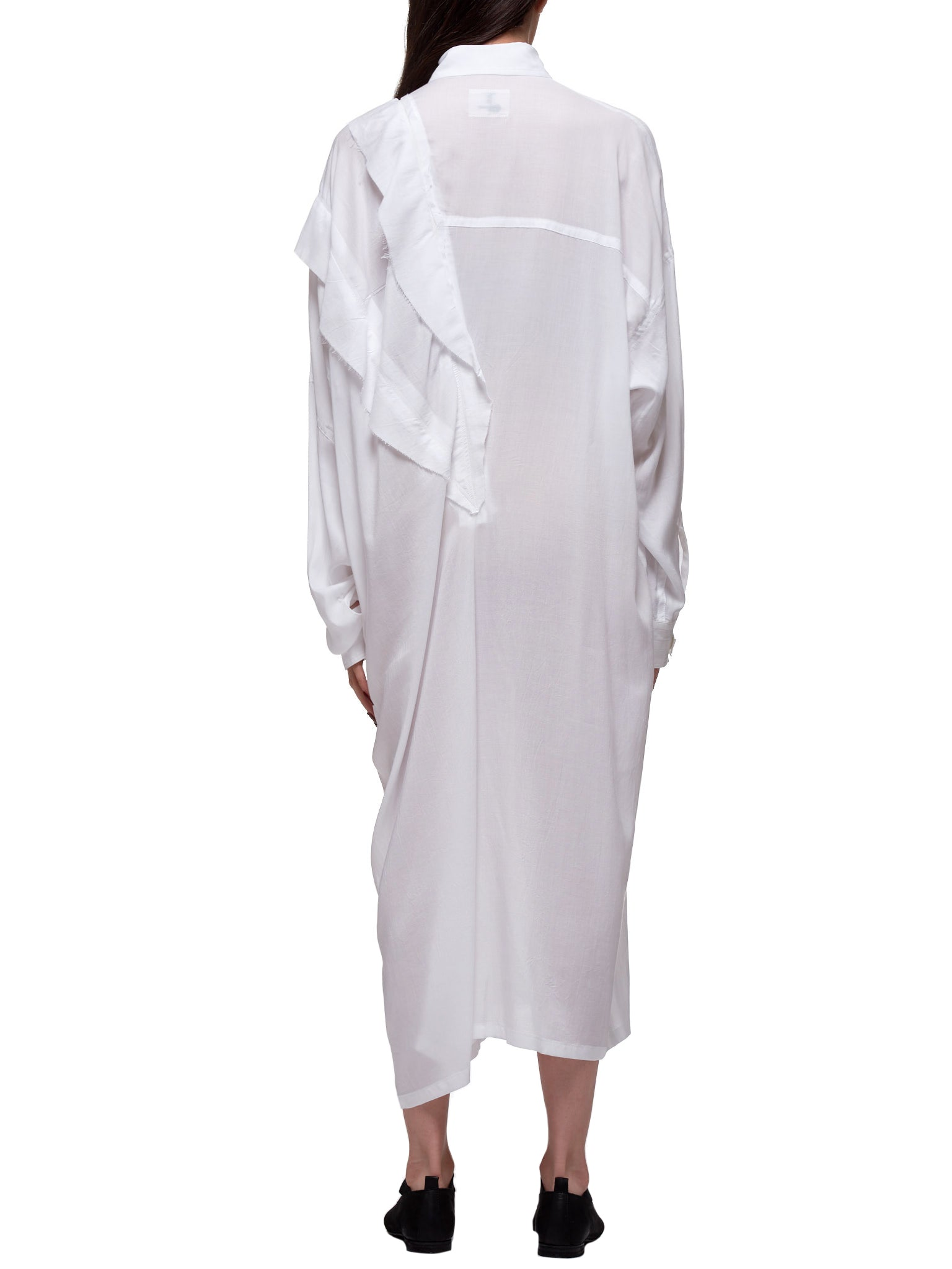 Asymmetrical Shirt-Dress (NN-B58-201-WHITE)