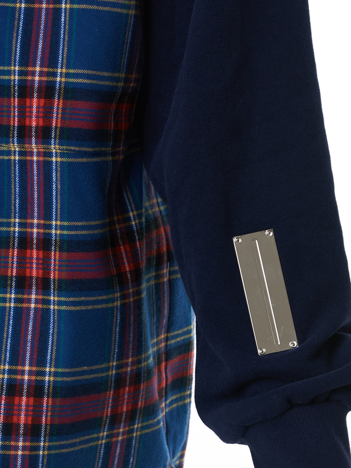 Plaid Hooded Sweater (NN10-ST08-B-BLK-BLUE-CHECK)