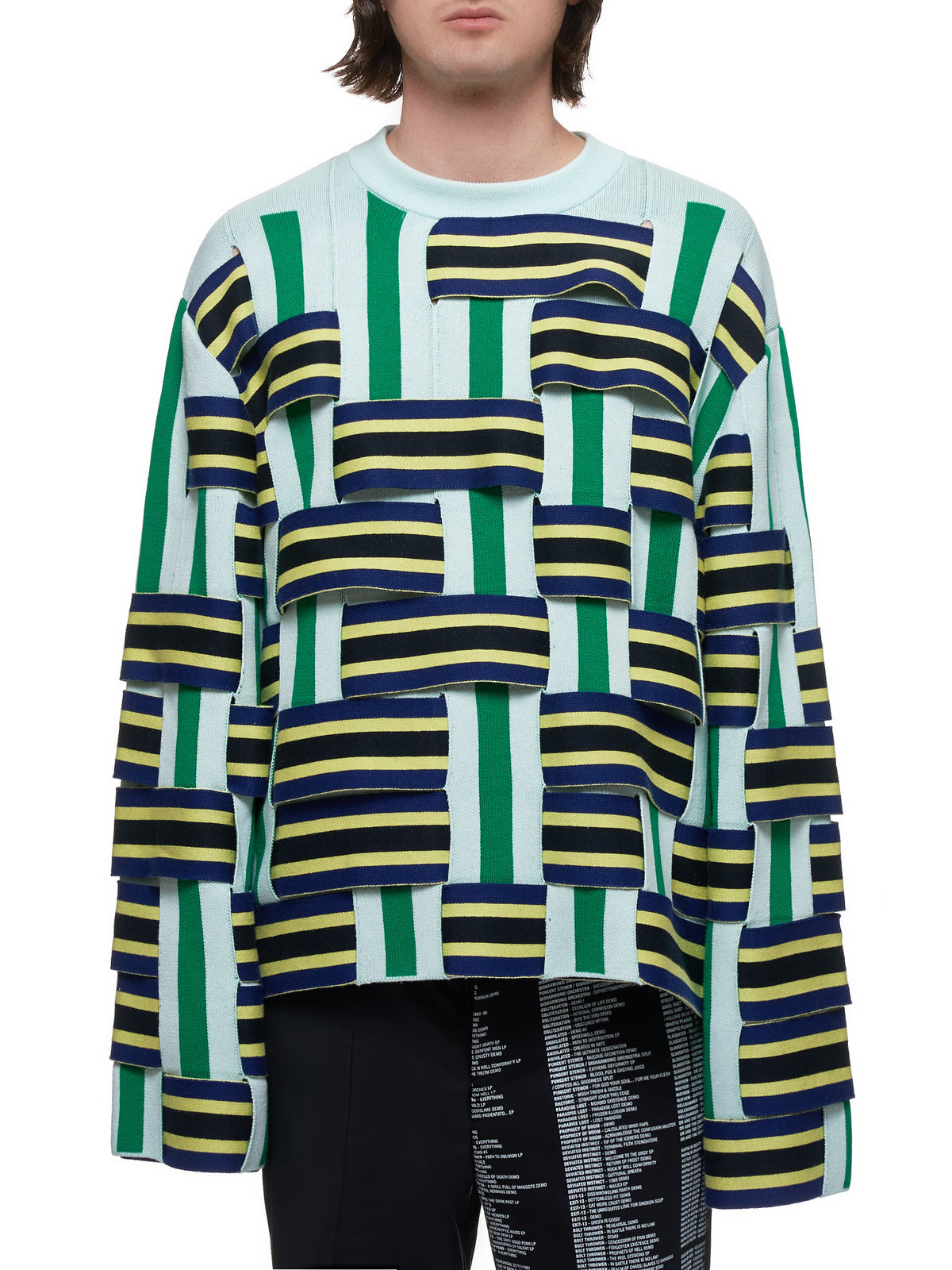 Woven Sweater (NS207007-DARK-BLUE-GREEN)