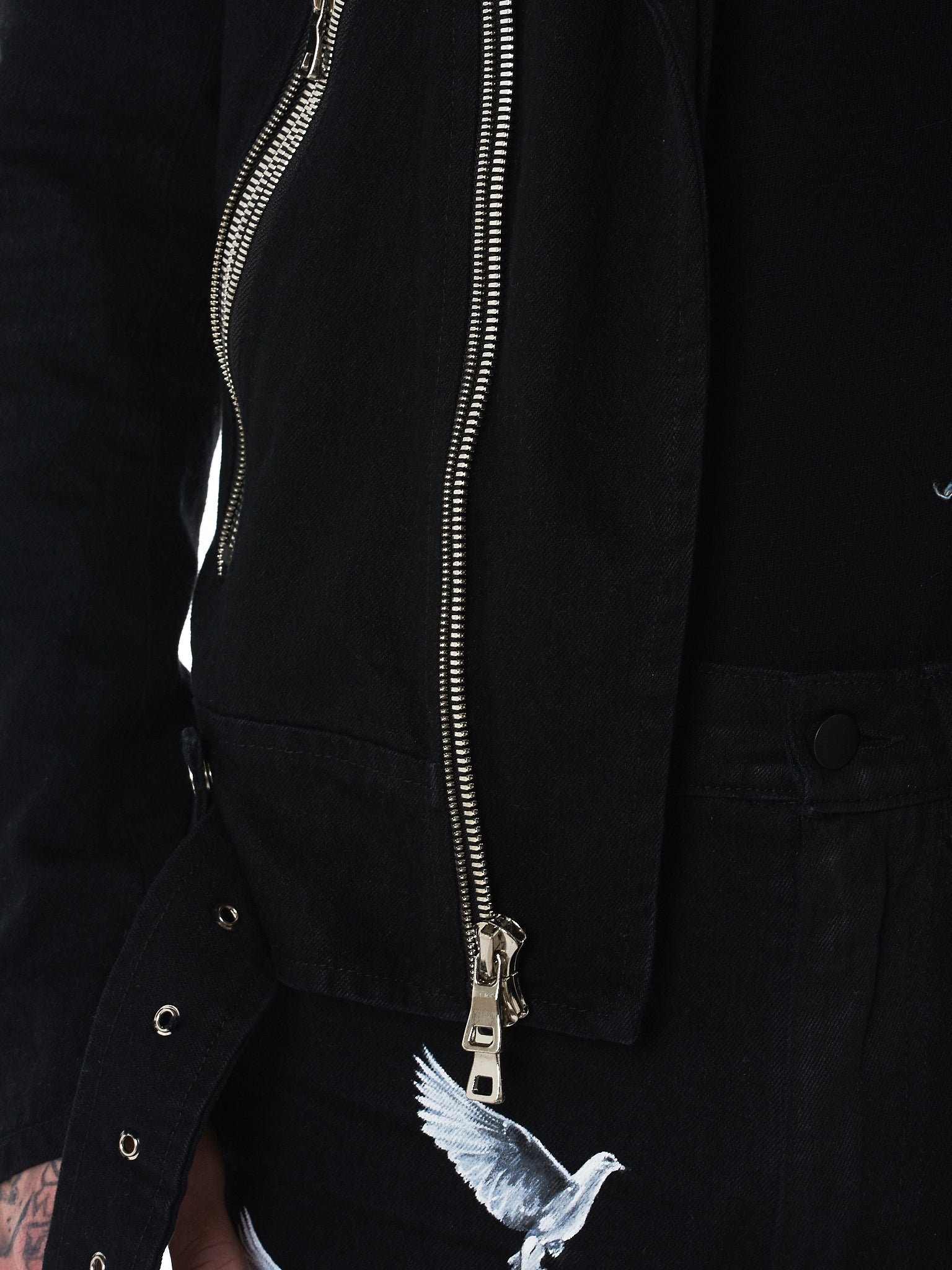 Nahmias Denim Biker Jacket - Hlorenzo Detail 3