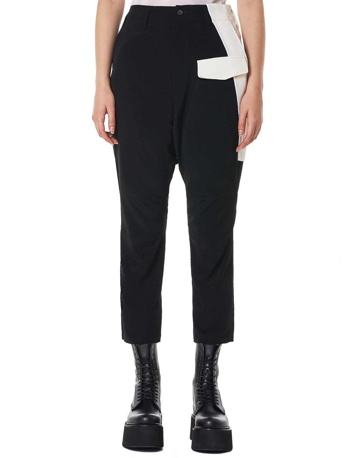Paneled Knee Trousers (NV-P15-805-BLACK)