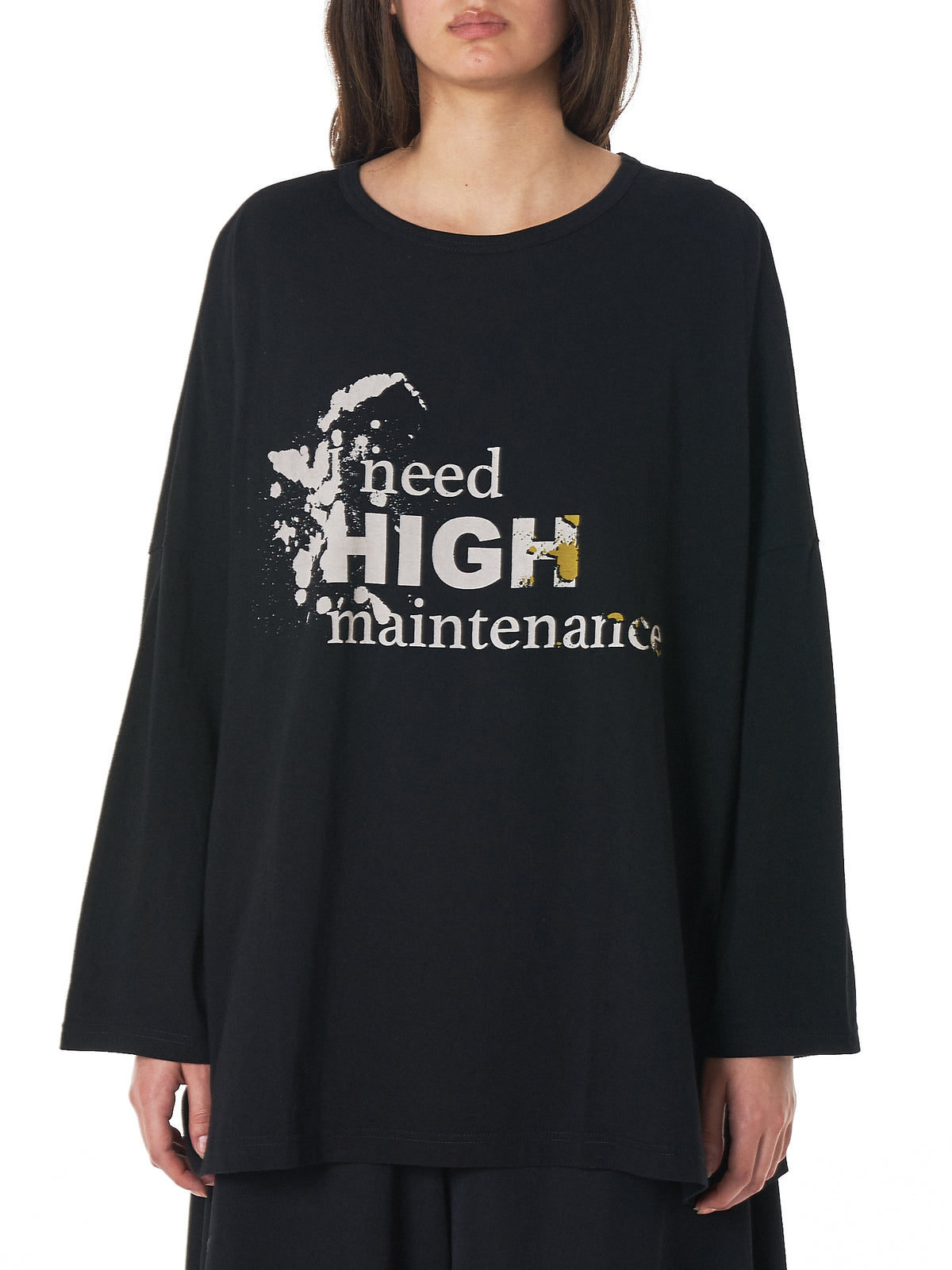'HIGH maintenance' Long-Sleeve Top (NV-T08-081-BLACK)