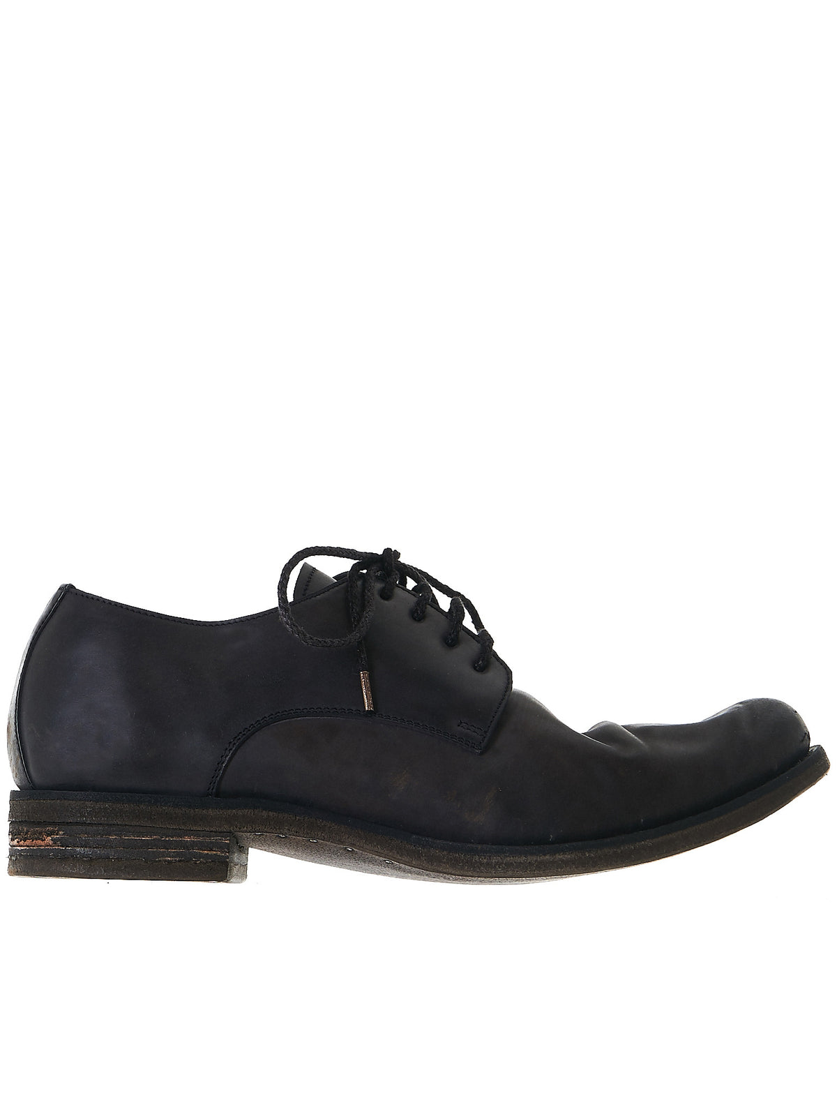 Laced Derby Shoes (O33N-CULATTA-HORSE-BLACK) - H. Lorenzo