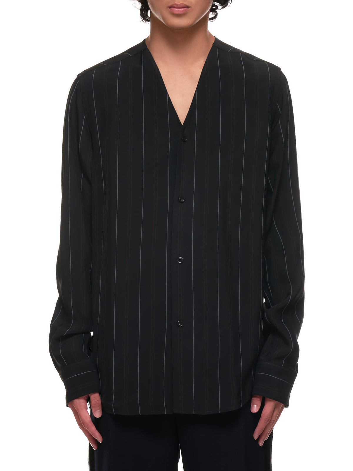 Pinstripe Button-Up Jersey Shirt (OAMR601625-BLACK)