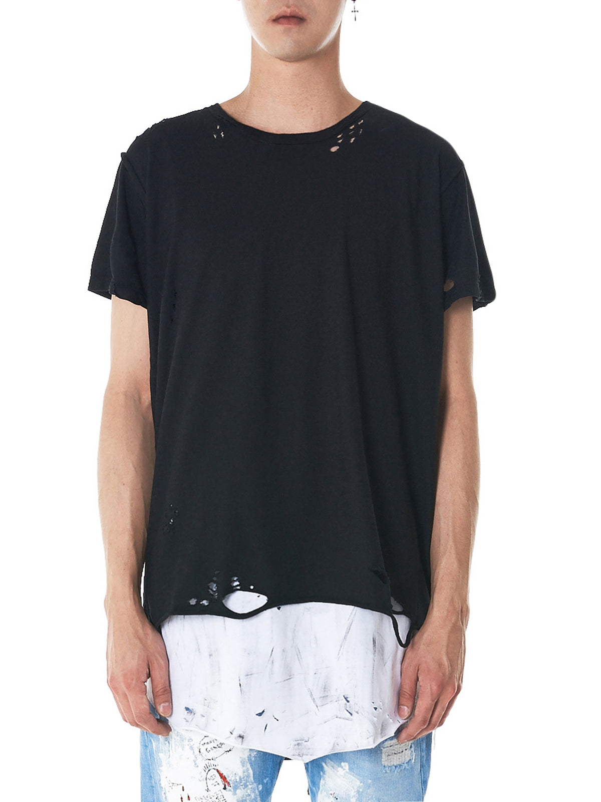 Oleum Distressed Double-Layer Tee (OLENUDPR-BLACK-WHITE)