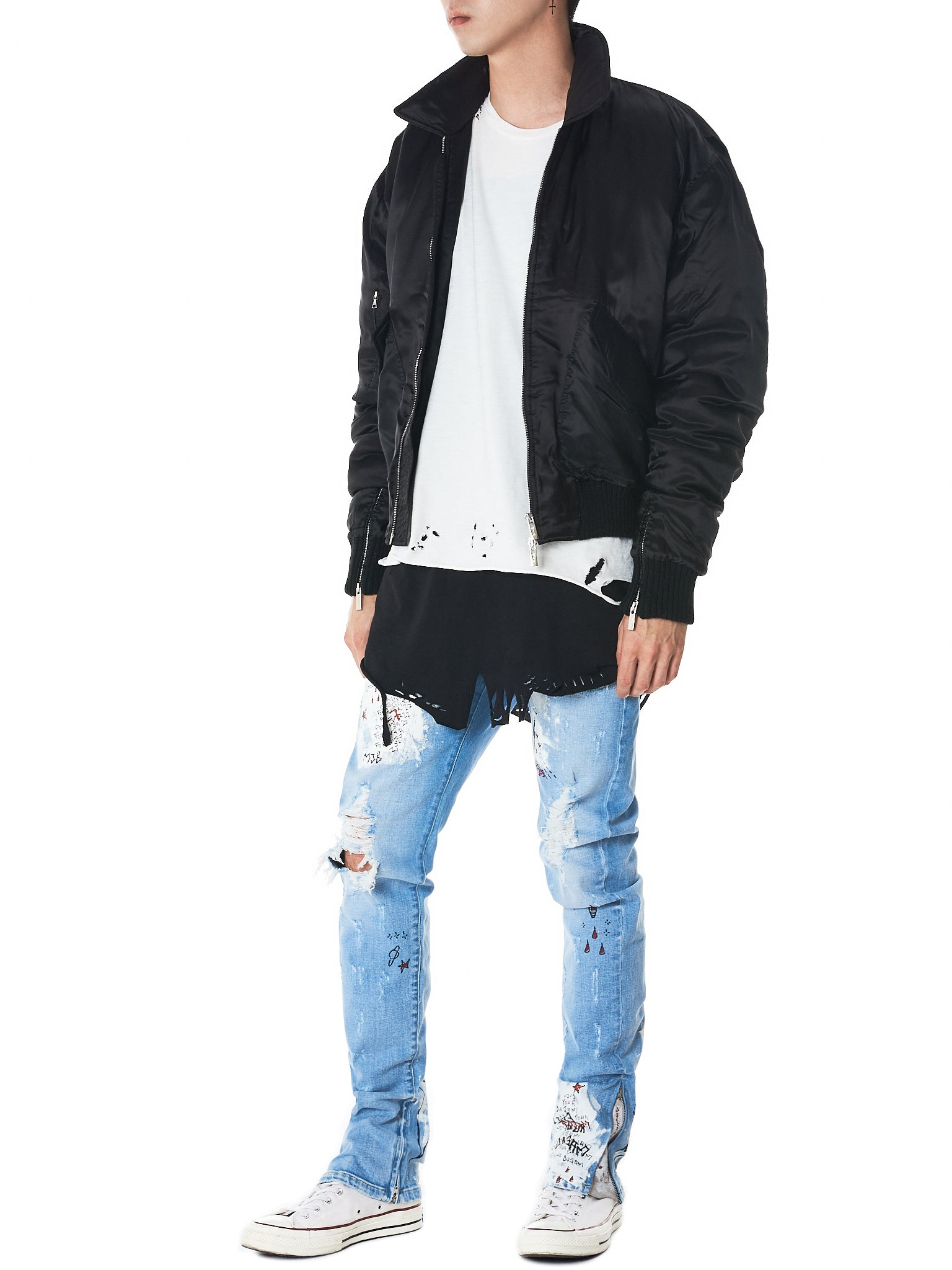 Marc Jacques Burton- HLorenzo puffer bomber jacket full view