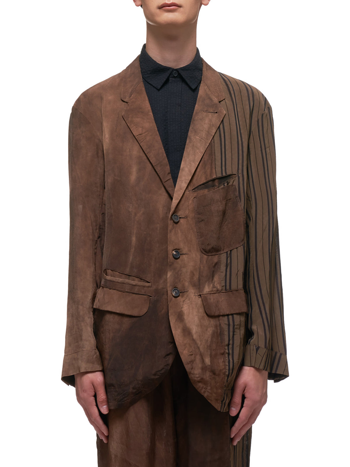 Hybrid Pattern Blazer (OM201-0902-DARK-BROWN)