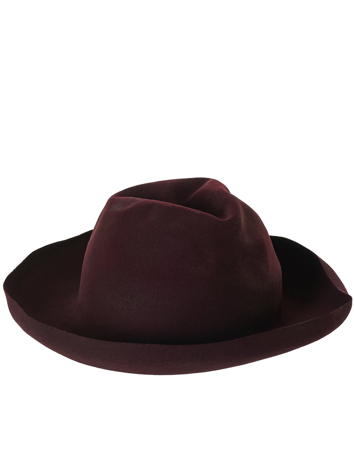Vintage Crushed Felt Hat (OOAKFWM18-07-WINE)