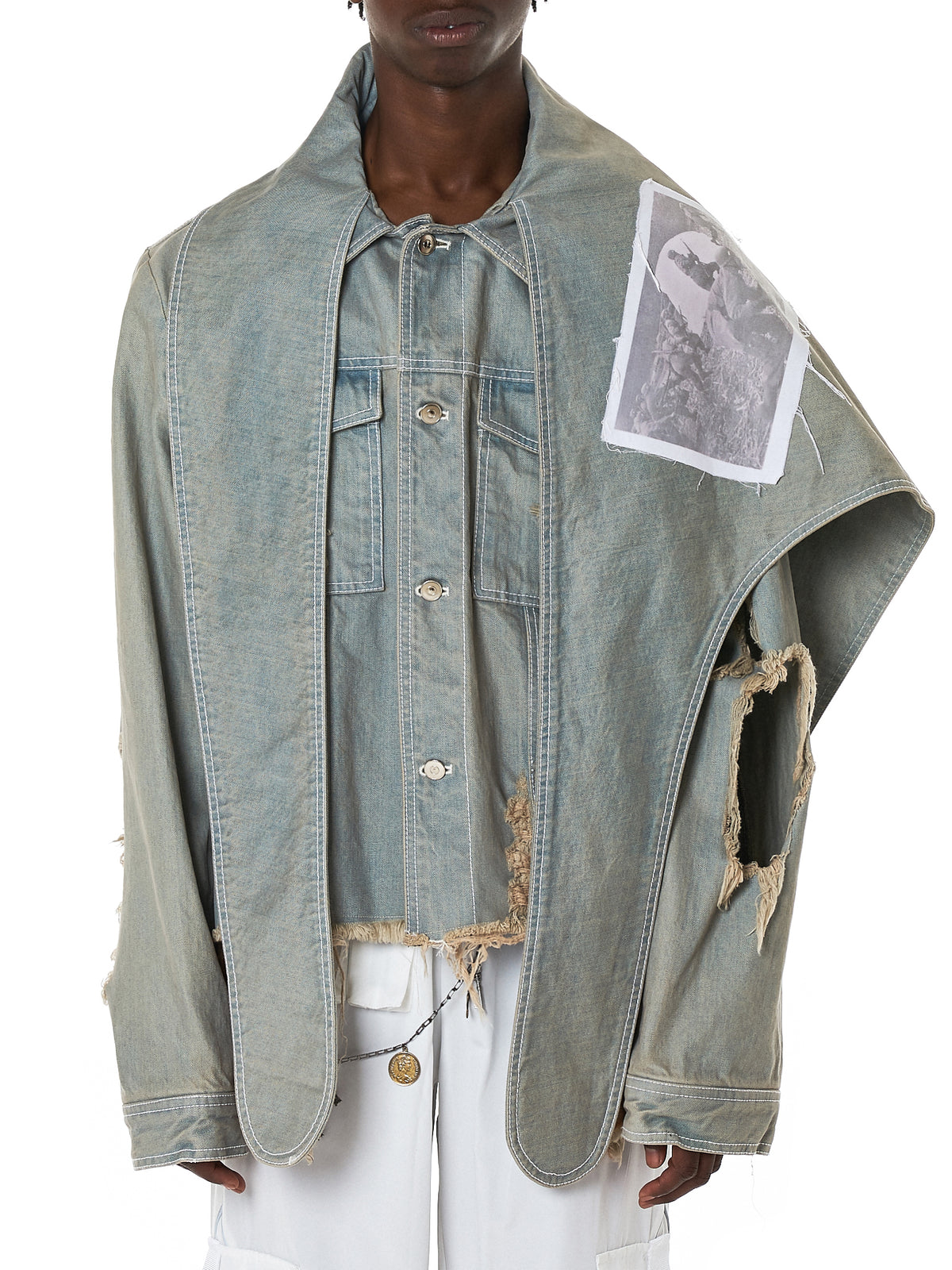 Cape Denim Patch Jacket (OU-007GRDE-GREEN-DENIM)