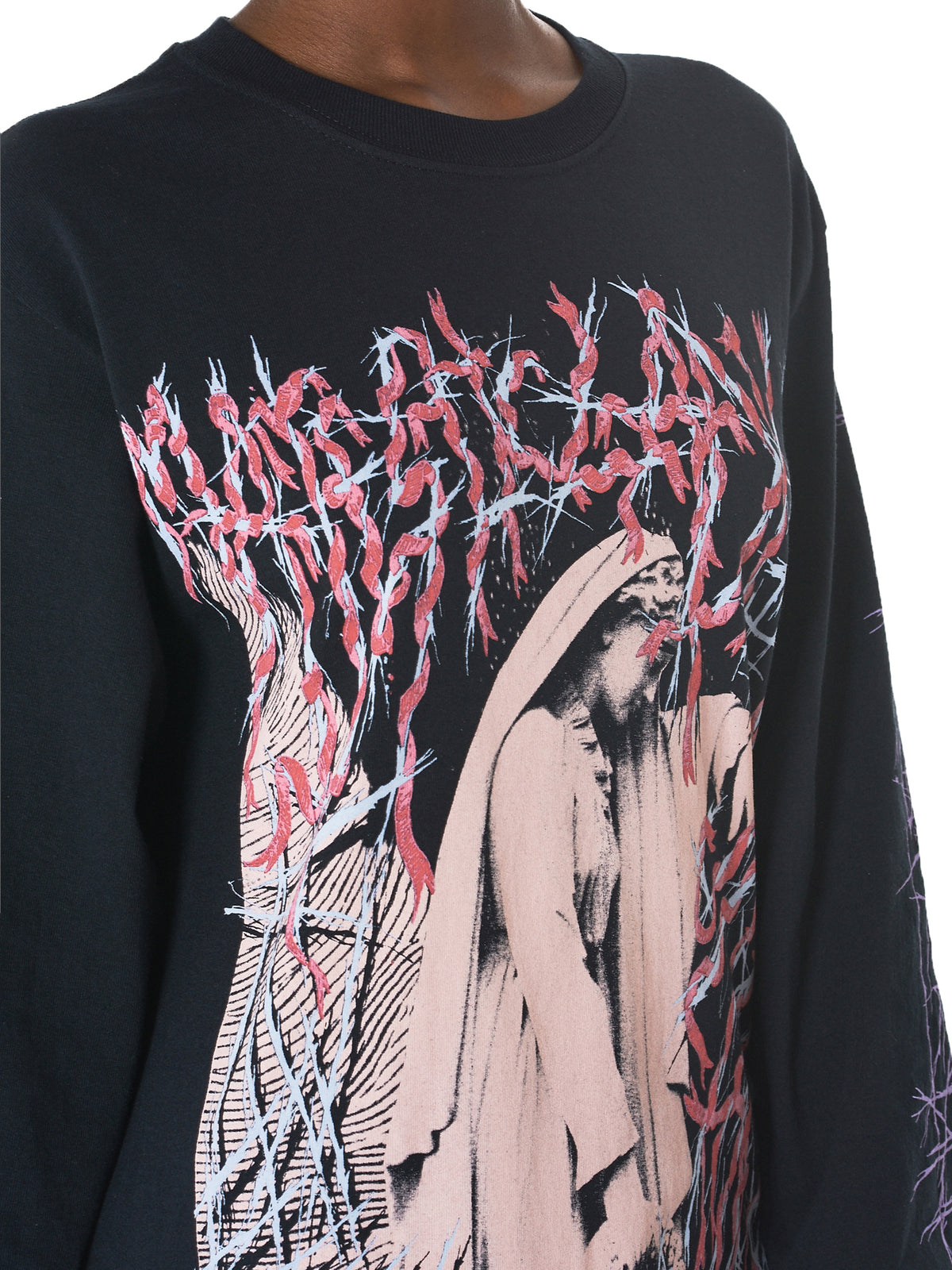 'Our Majestic Lady of Sorrow' Long-Sleeve Tee (OUR-MAJESTIC-LADY-OF-SORROW-BK)