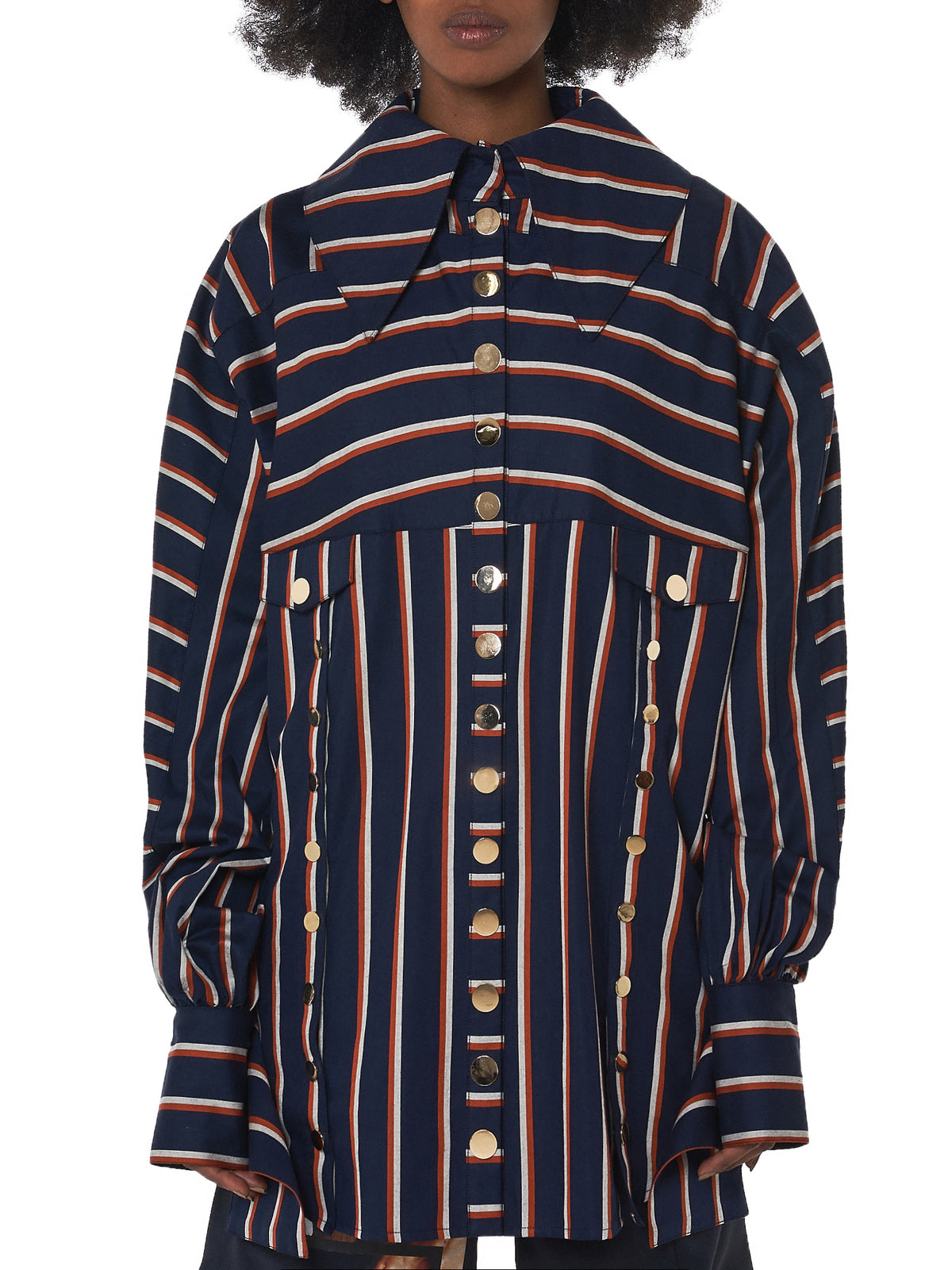 Oversized Striped Shirt (OVERSIZED-STRIPE-SHIRT-BLU-RED)