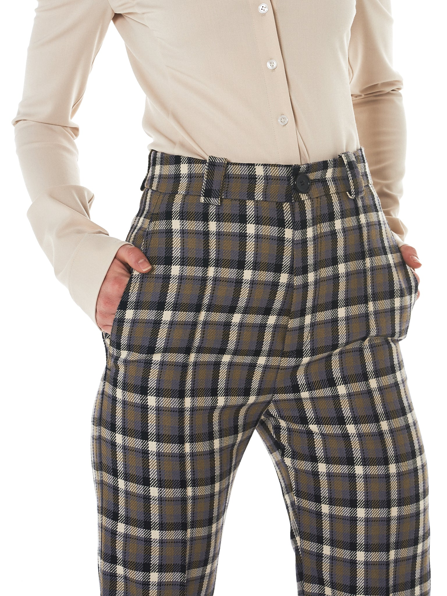 Kwaidan Check Trousers - Hlorenzo Detail 1