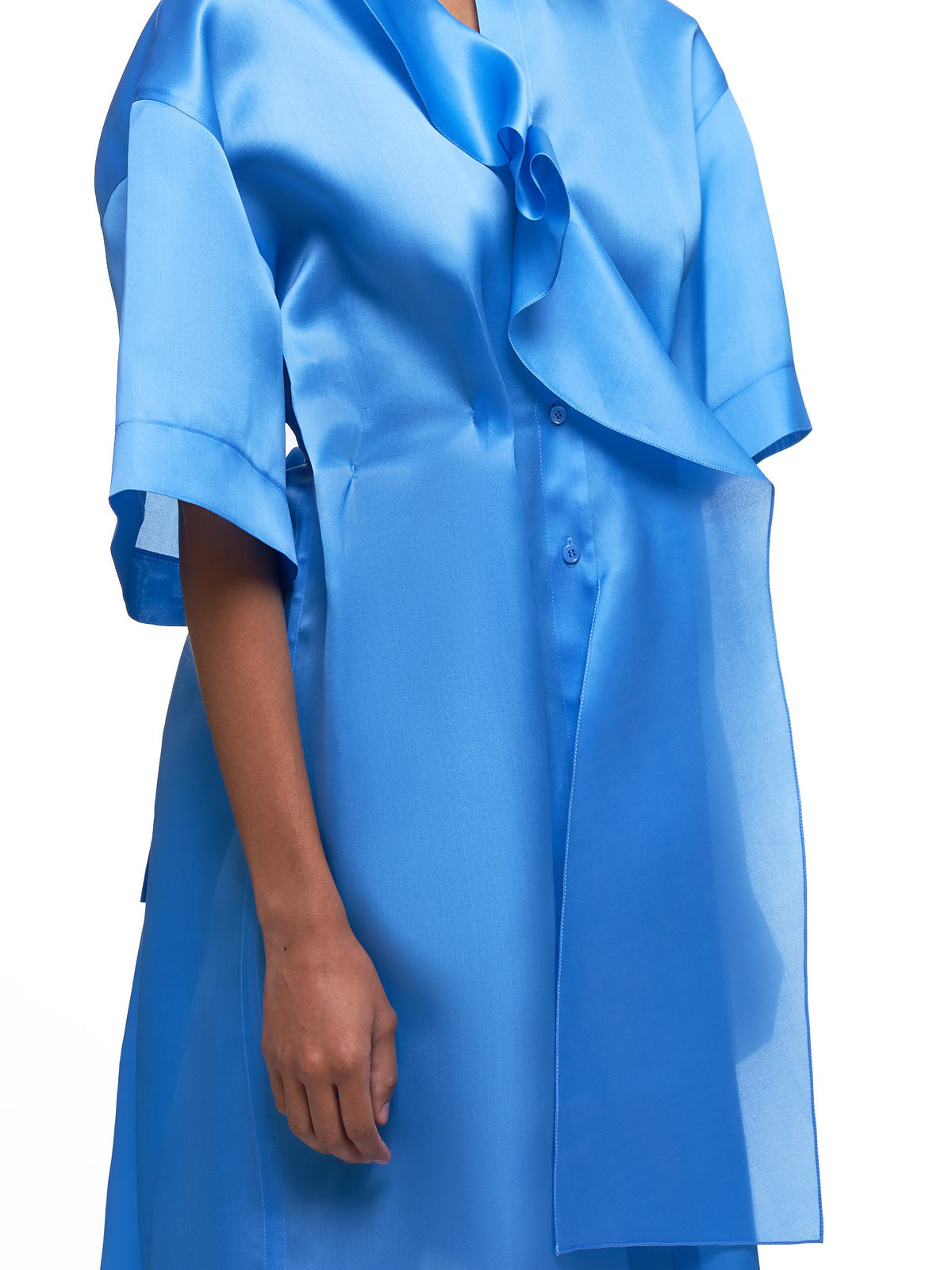 Ruffled-Silk Oversized Shirtdress (PCR0025SE1176-U4293-BLUE)