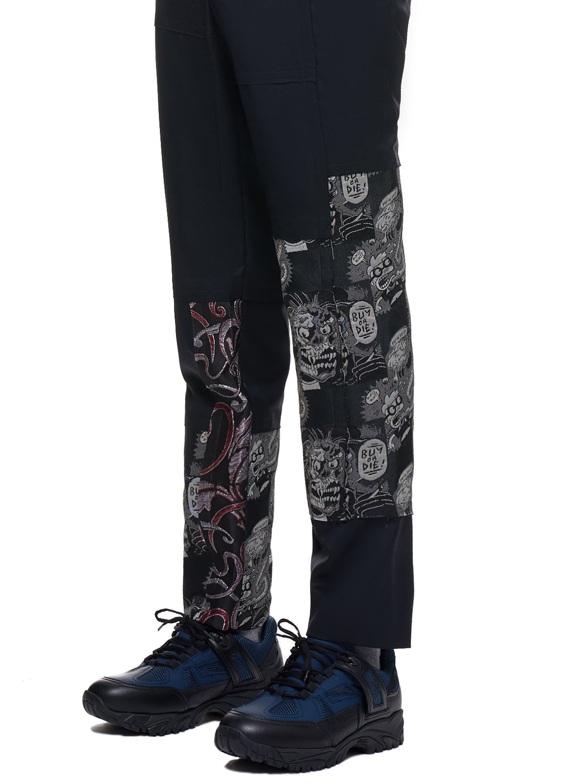 Embroidered Trousers (PD-P013-051-BLACK-DRAGON-PRINT)