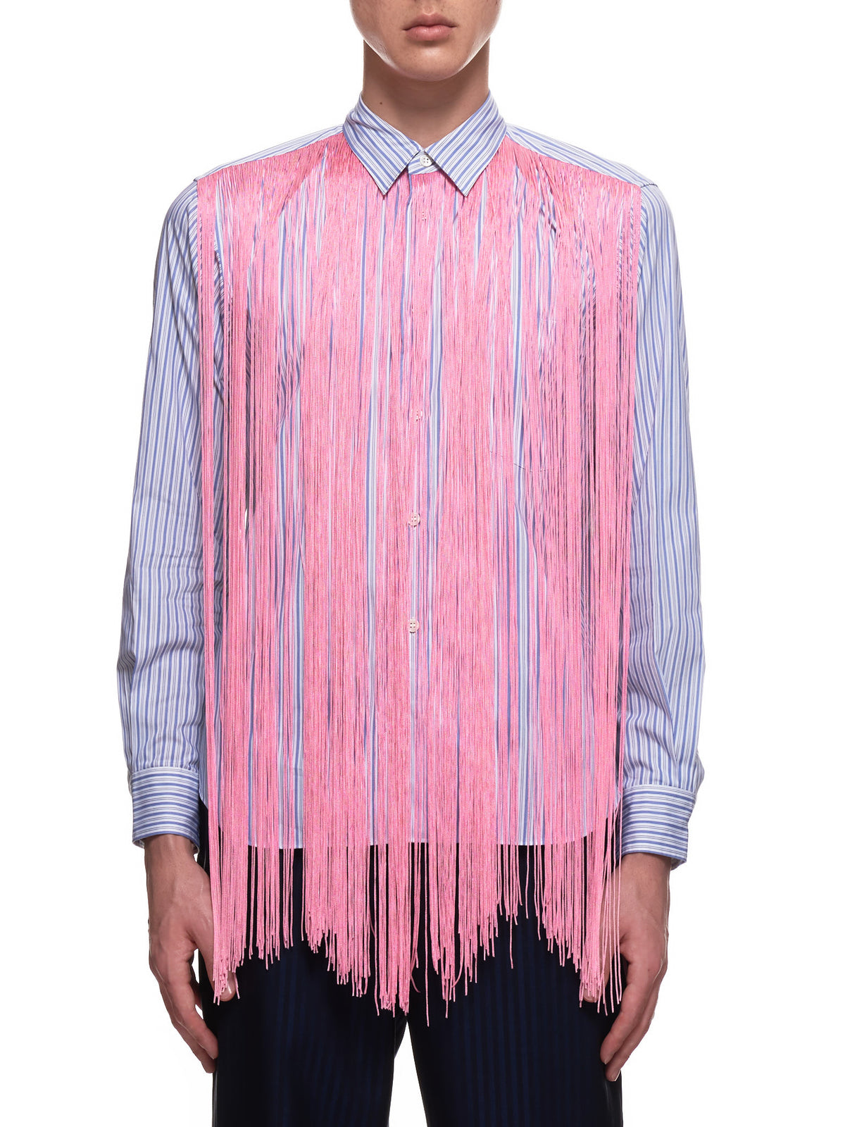 Stringy Waterfall Front Shirt (PF-B029-051-WHT-BL-PK)