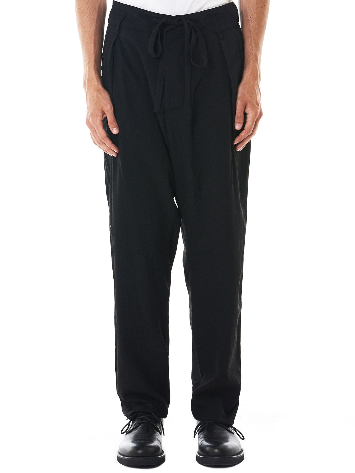 Knife-Pleated Trousers (PIANO-BLACK)