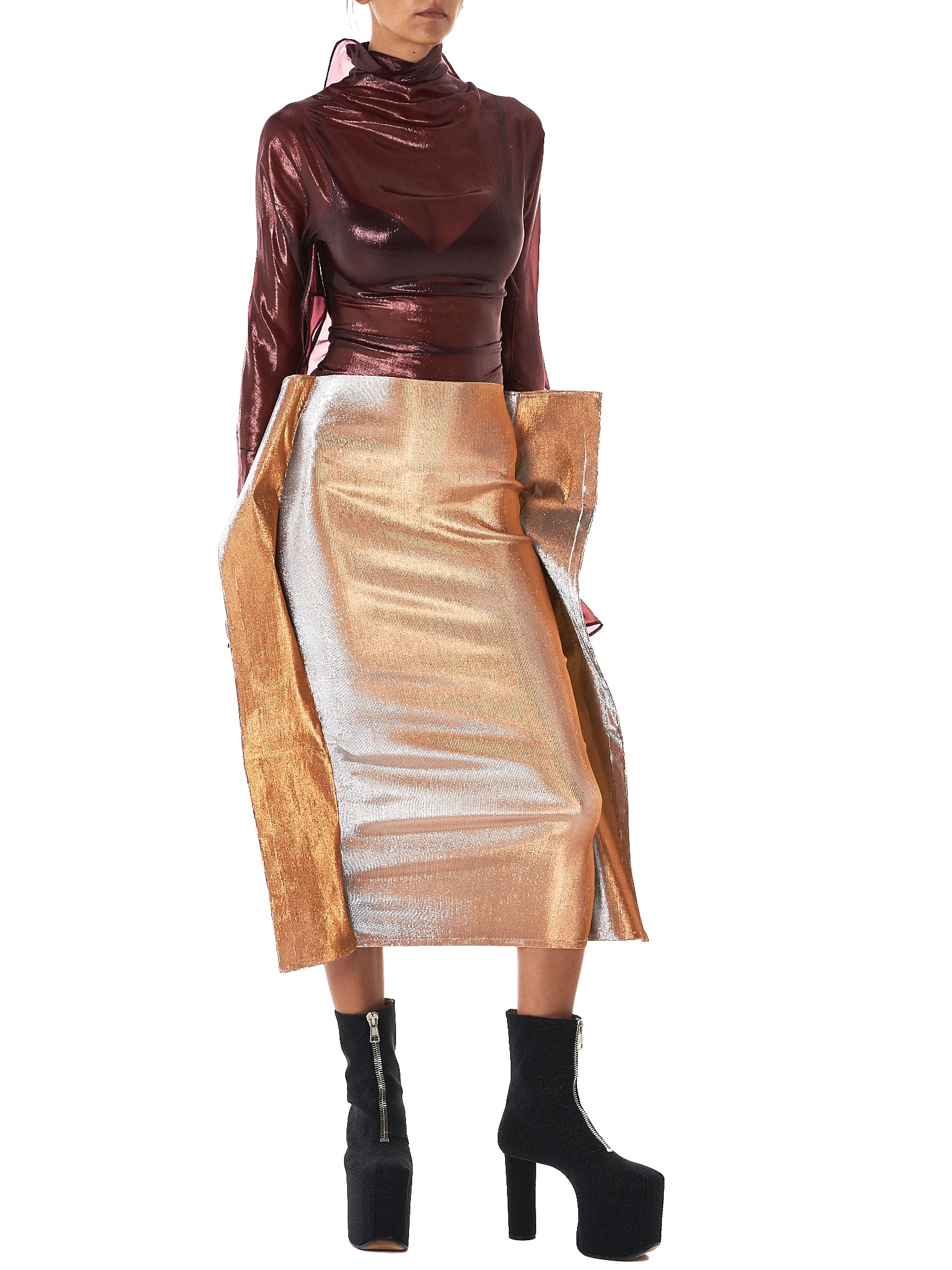 Metallic Rectangle Skirt (PK-AW17-FS-SL-SILVER)