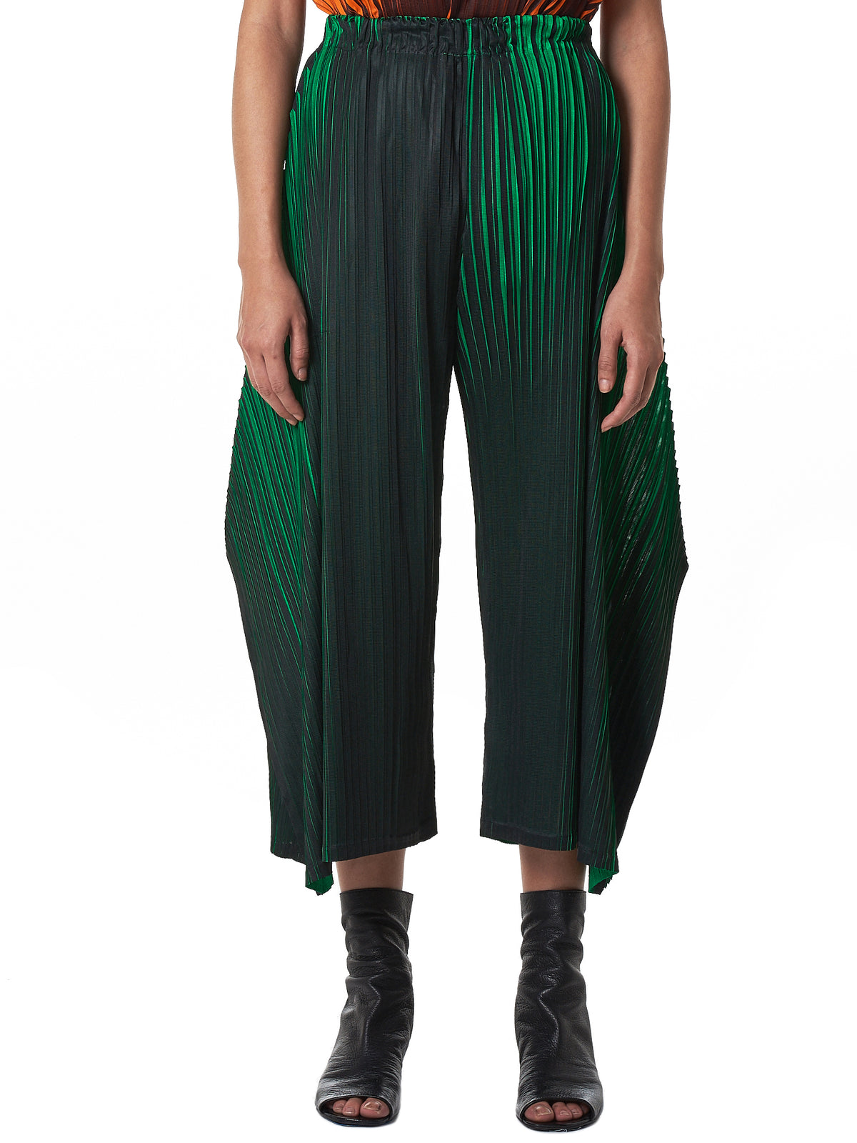 Wide Cropped Plissé Trousers (PP88JF542-GREEN)