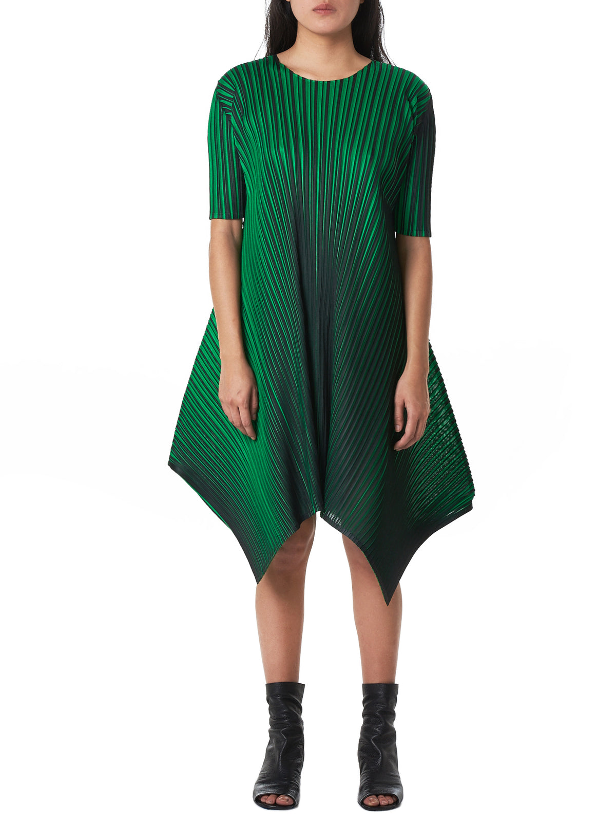 Diamond-Hem Plissé Dress (PP88JH544-GREEN)