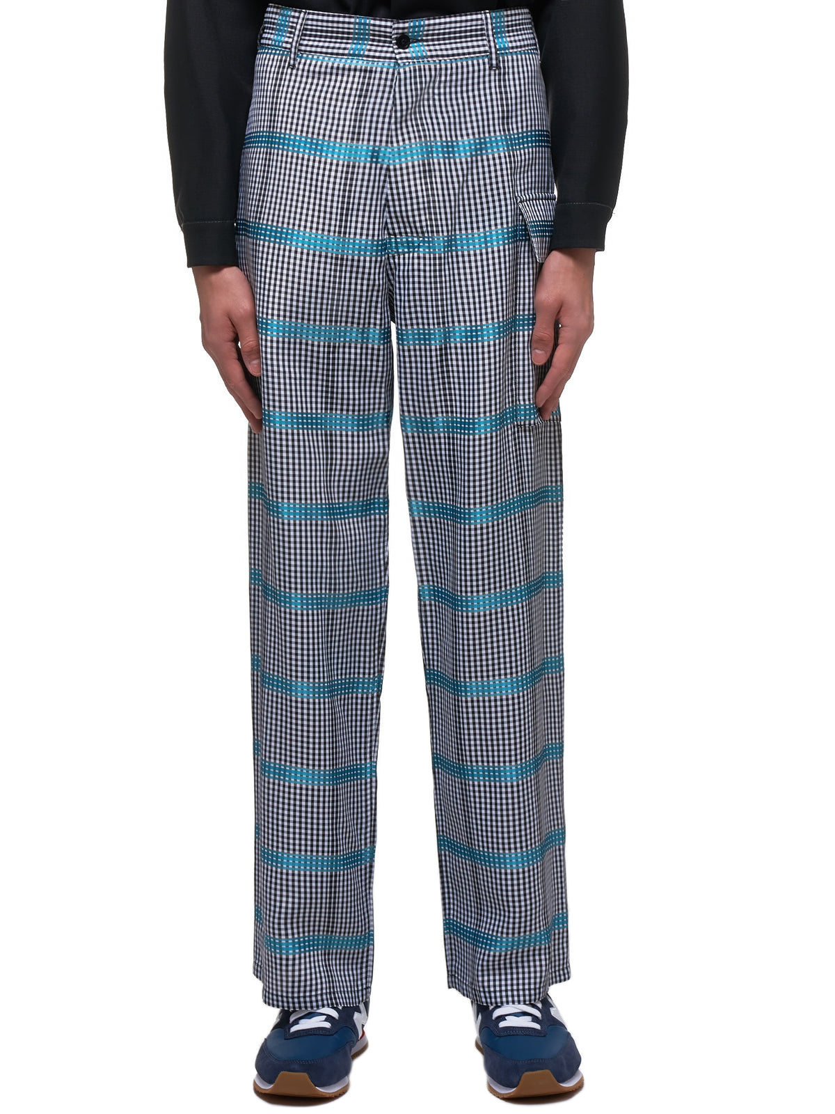 Mixed Gingham Trousers (PUMU0095A0-S52714-BLACK-TEAL)