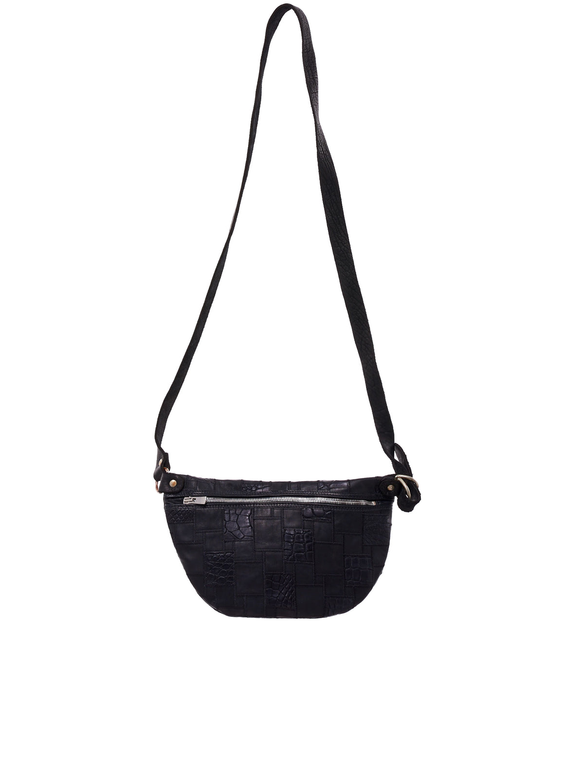Crocodile Patchwork Cross-Body Bag (Q100-CROCODILE-BLACK)