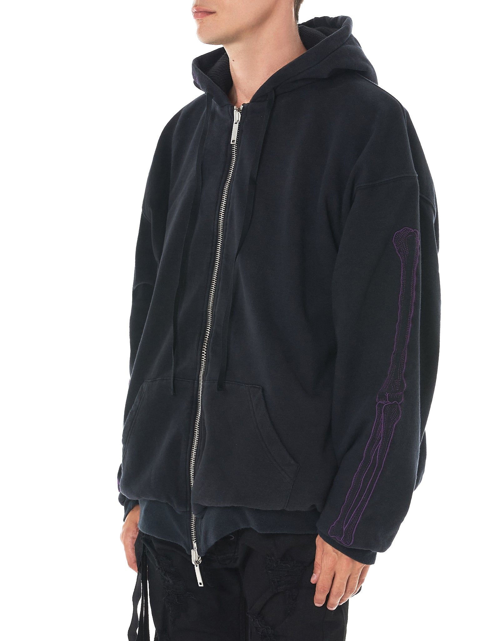 Embroidery Hooded Sweater (UMBB013F17154005-BLACK)